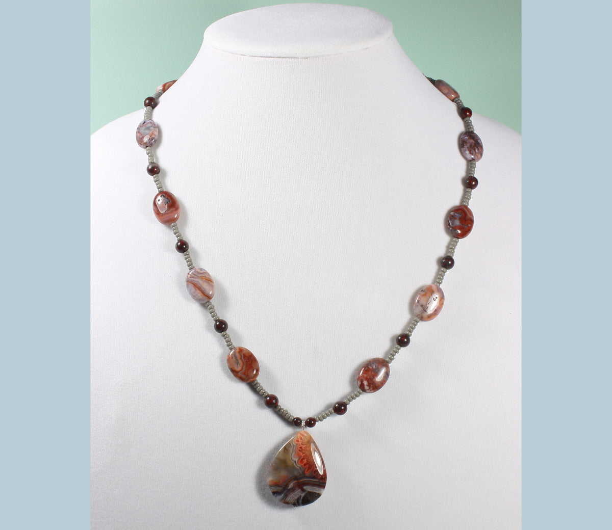 """Designs from the Earth"" Crazy Lace Agate Pendant Necklace, 23 Inches"