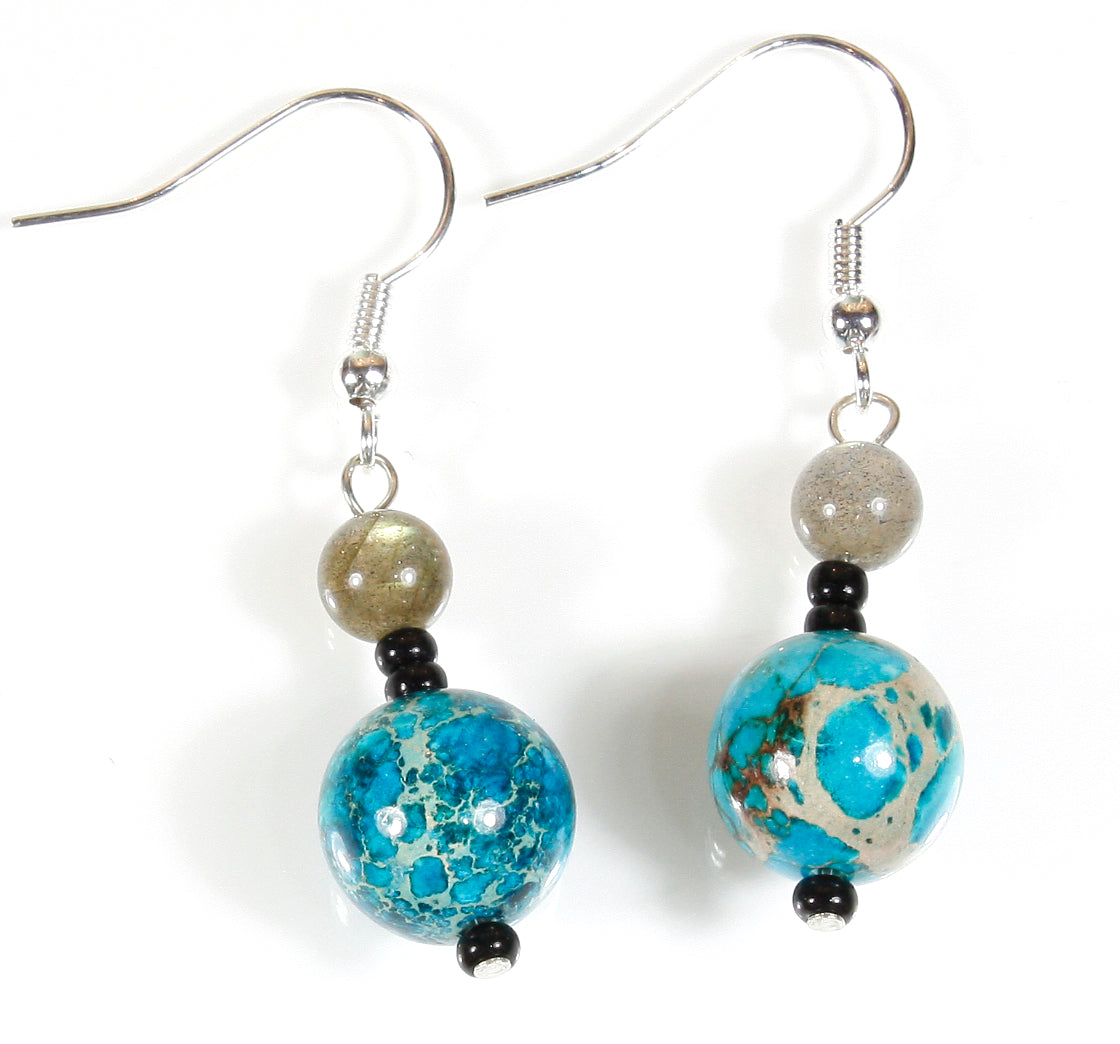 """Earth and Moon"" Earrings of Impression Jasper and Labradorite, Dangle 1.5 Inches"