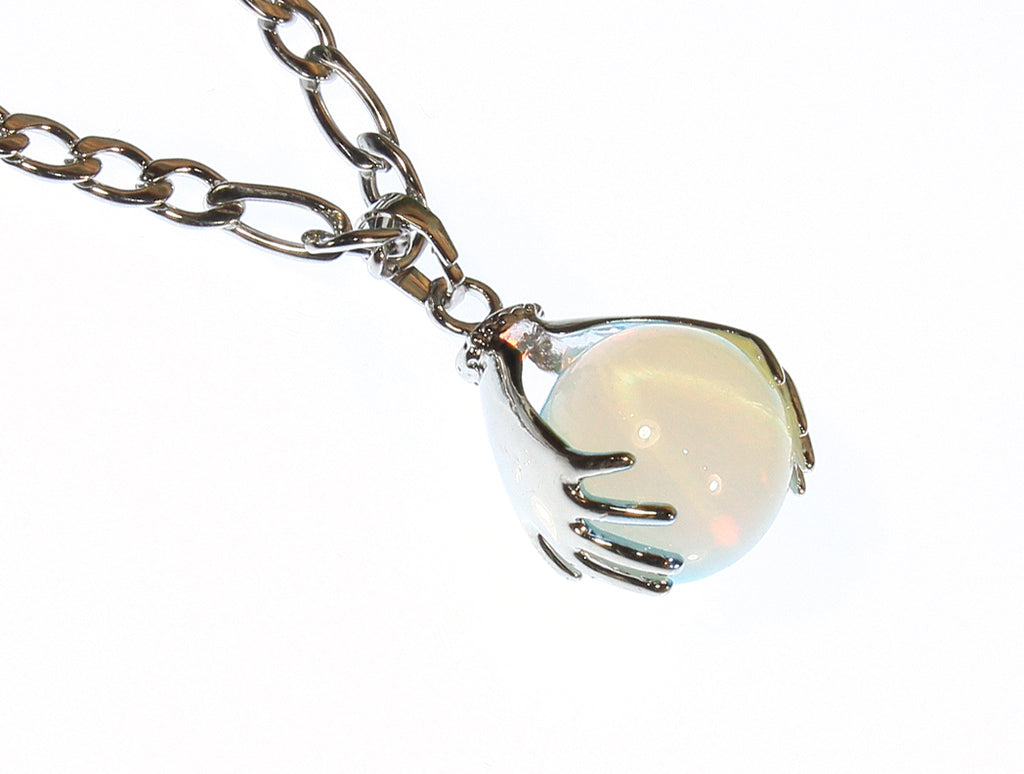 """Energy Healer"" Translucent White Opal Globe Pendant on Stainless Steel Chain, 16 Inches"