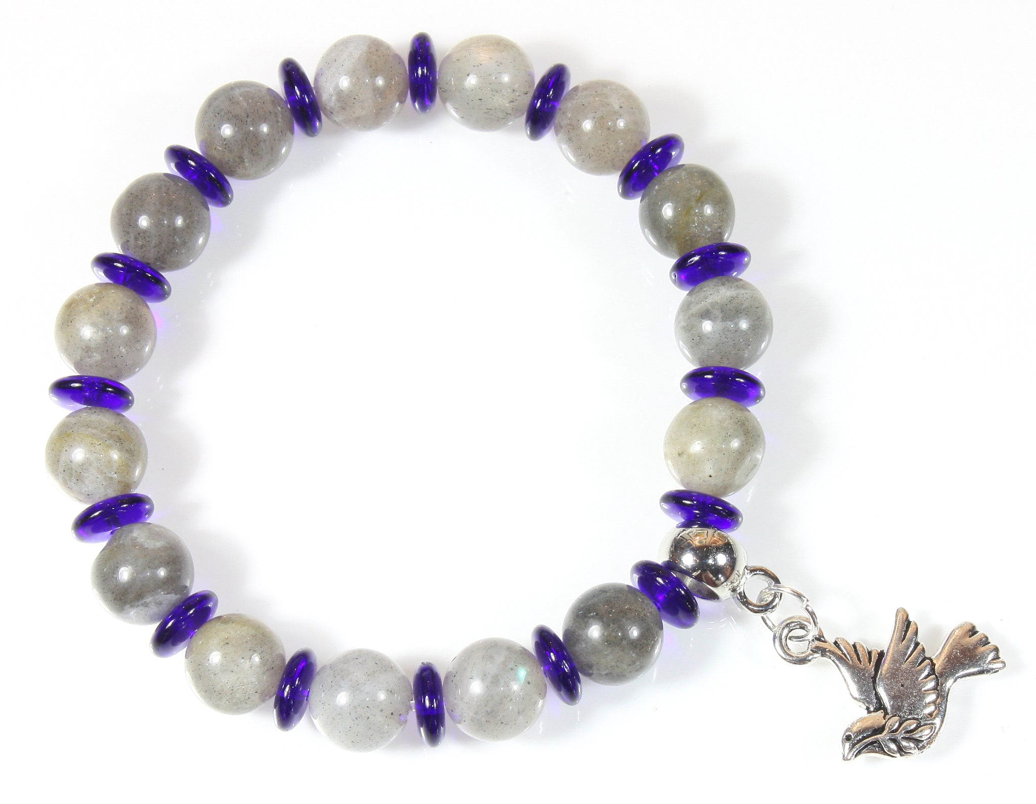 """Flight of Fancy"" Labradorite and Czech Glass Bracelet with Dove Charm"