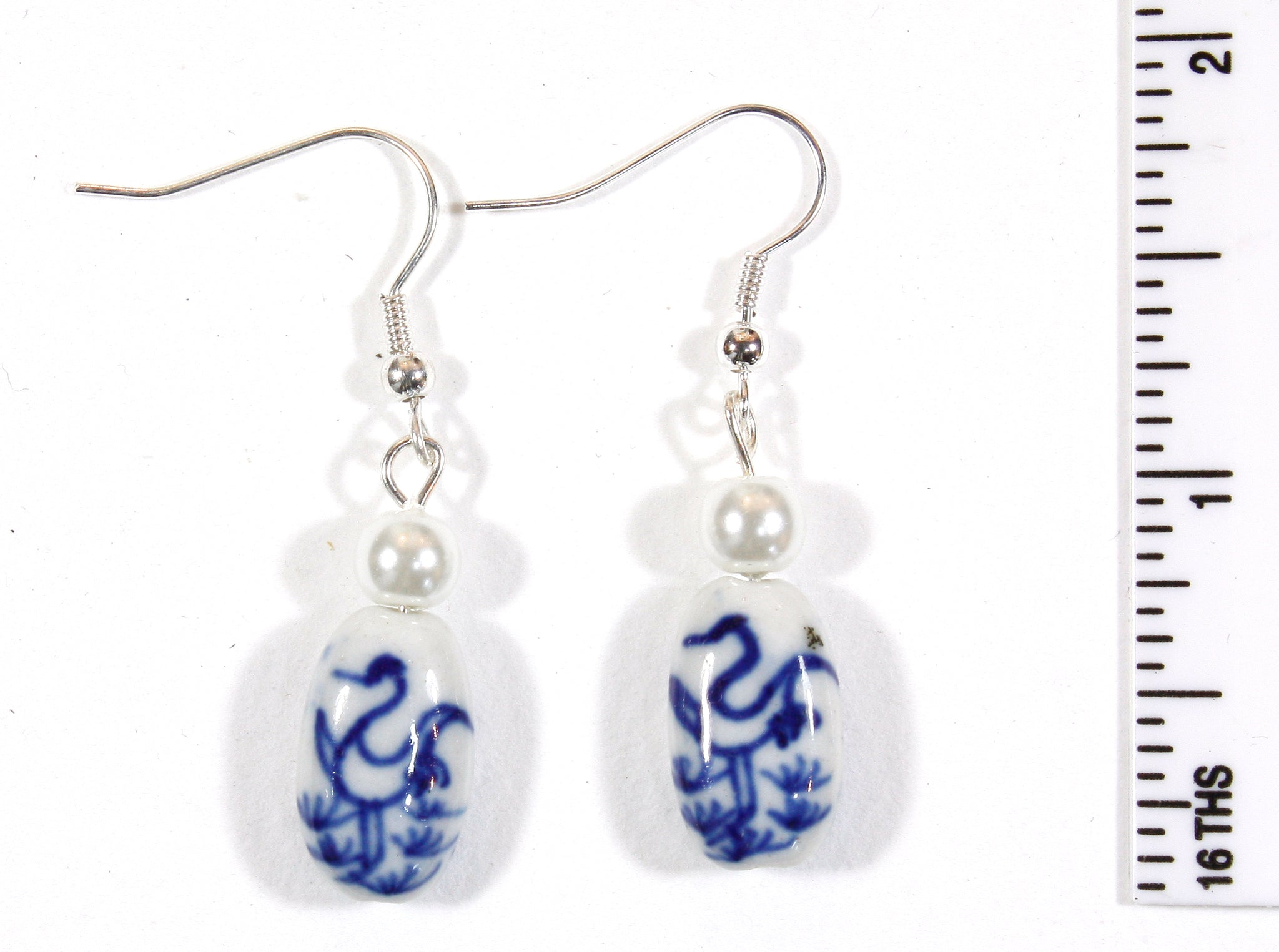 """Fly Away Free"" Dutch Blue and White Porcelain Earrings with Bird Motif"