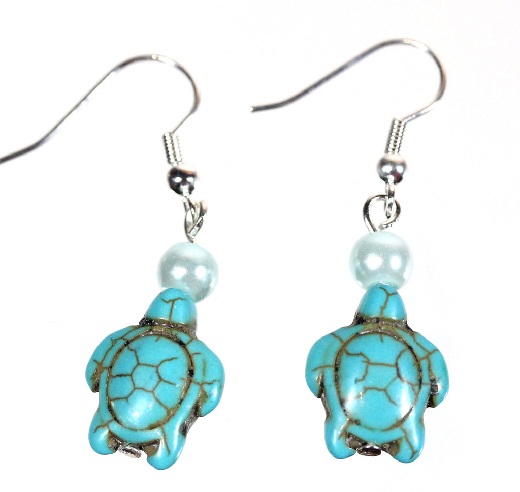 "Turtle and Pearl Earrings ""Follow Your Dream"" Style-ARThouse"