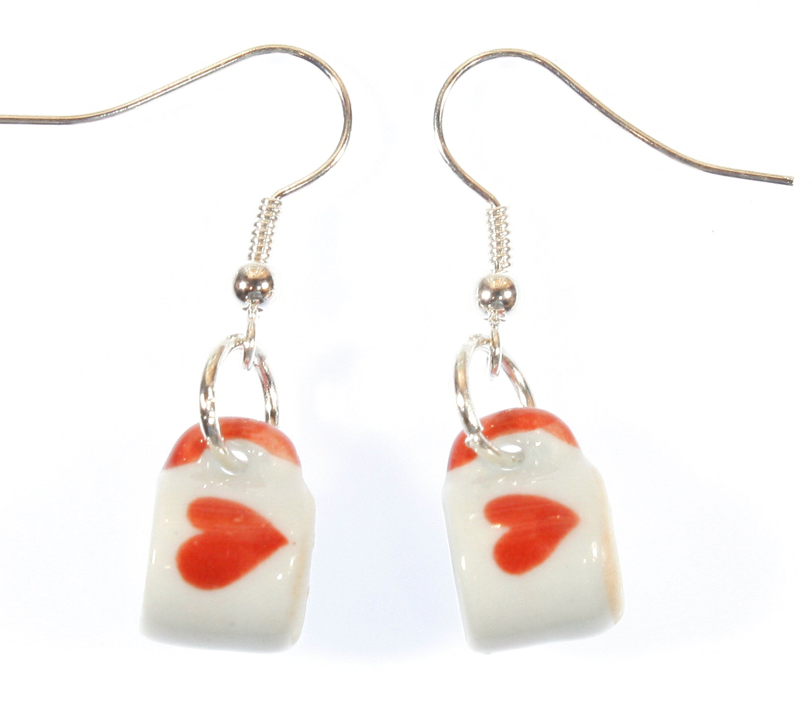 """For the Love of Coffee"" Tiny Porcelain Tea Cup Earrings with Heart"