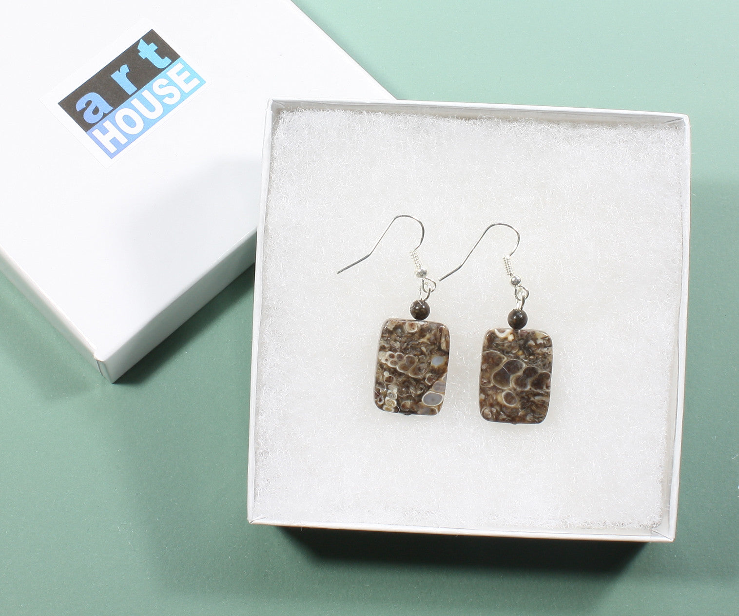 """Fossil Hunter"" Brown Turritella Fossil Agate Earrings, 1.5 Inches"