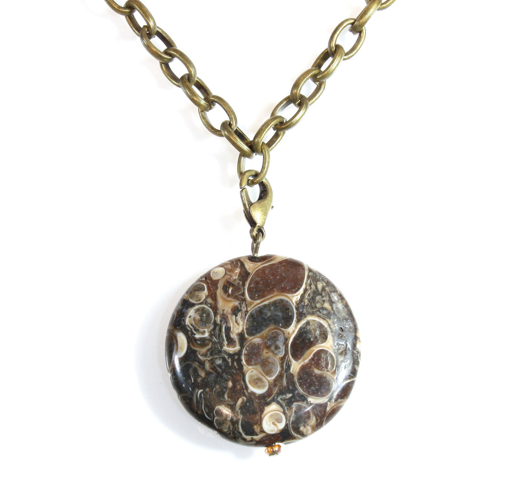 """Fossil Hunter"" Natural Turritella Fossil Agate Necklace on 18 Inch Brass Chain"