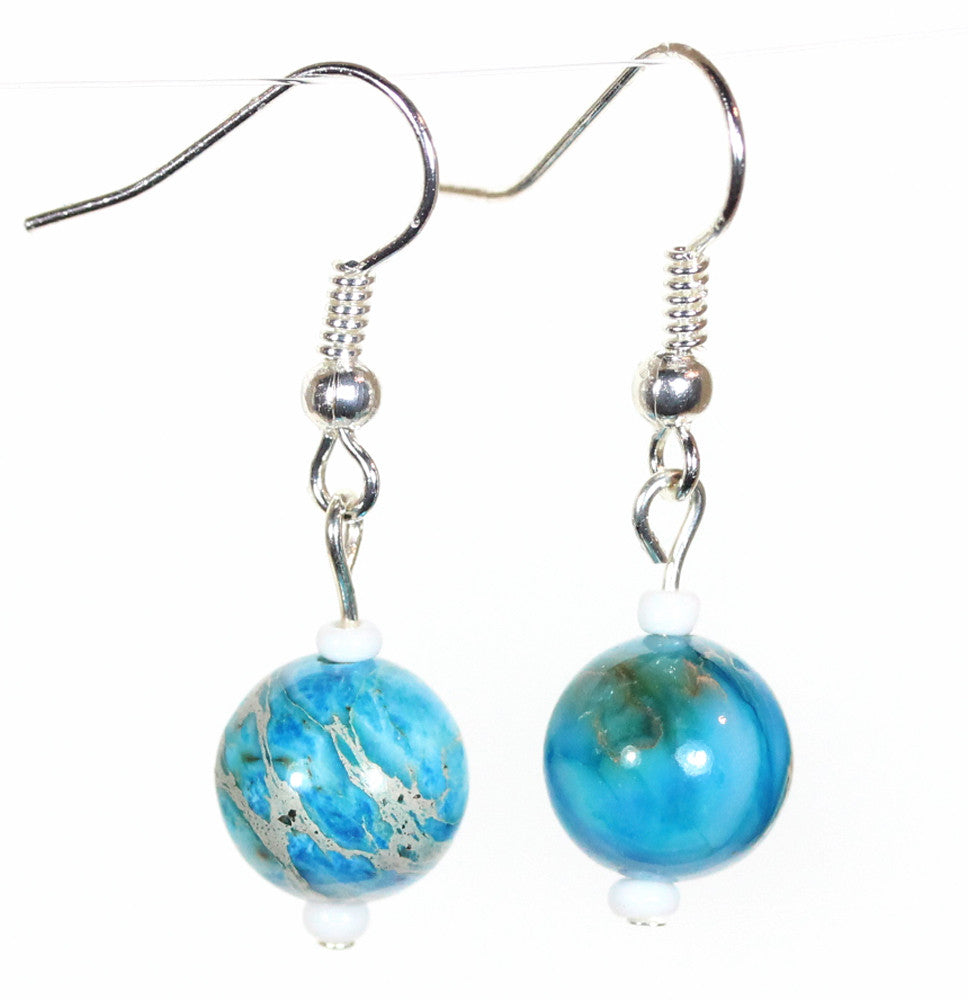 "Blue Jasper Earrings ""Fragile Planet"" Style-ARThouse"