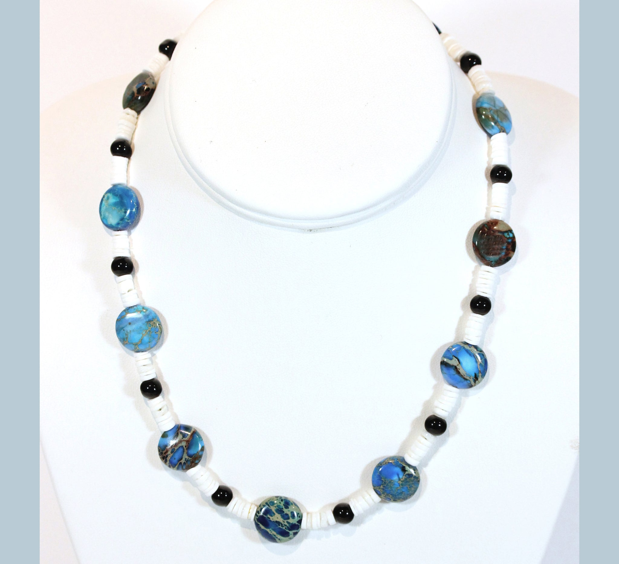 Fragile Planet Necklace, Impression Jasper and Shell, 17 Inches