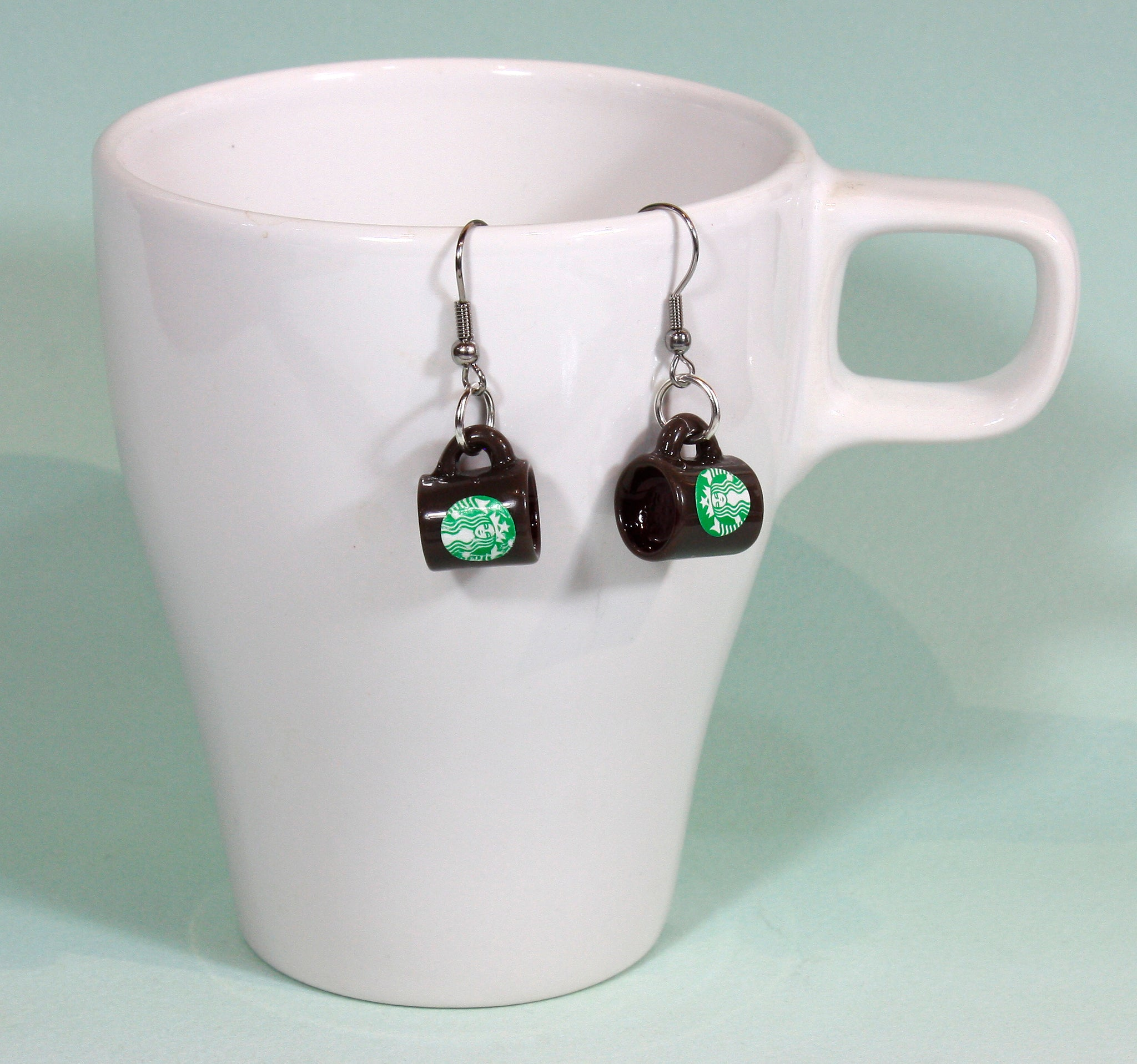 French Roast, Dark Brown Coffee Cup Earrings with Starbucks Logo