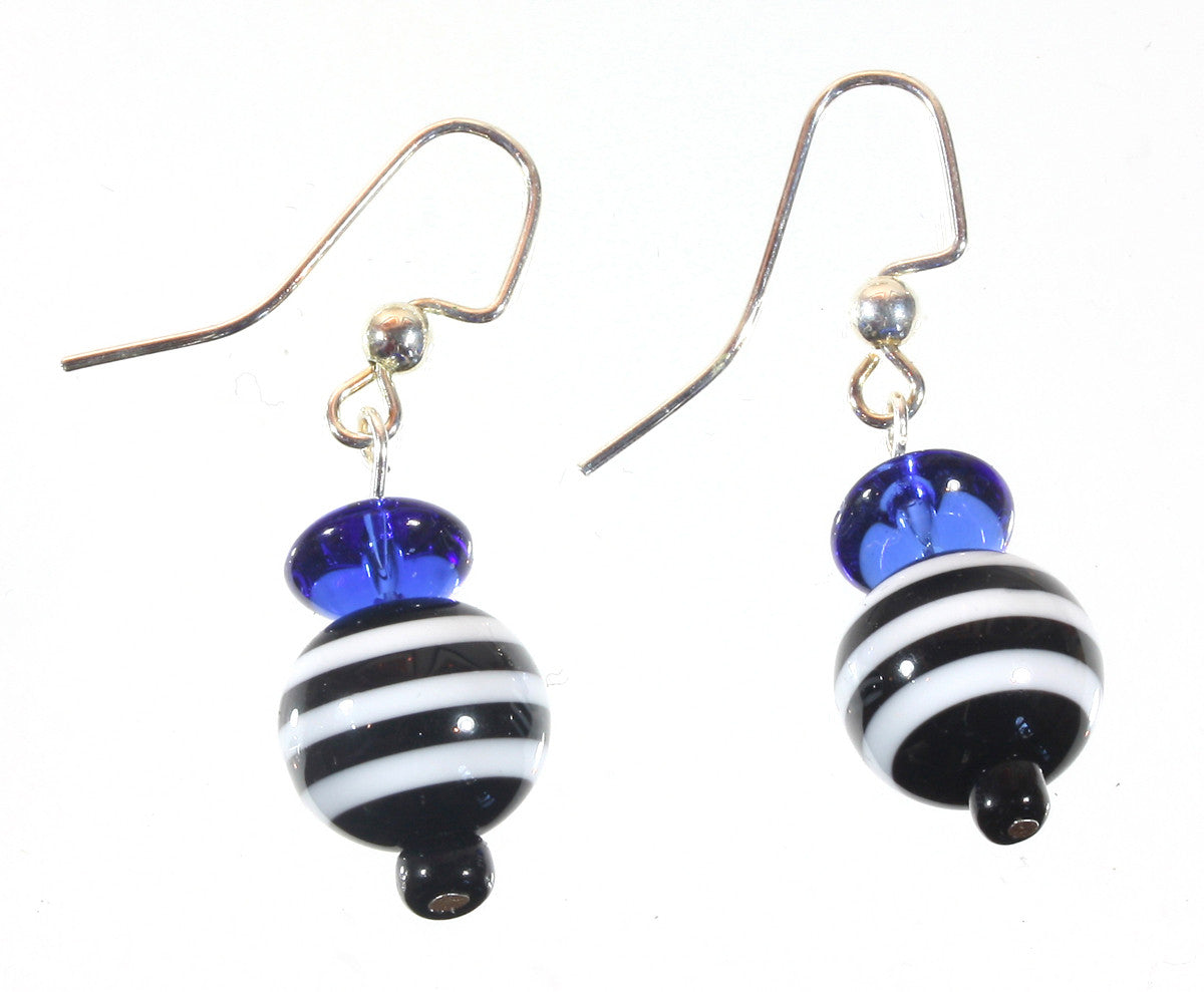 "Black and Blue Striped Earrings ""French Sailor"" Style-ARThouse"