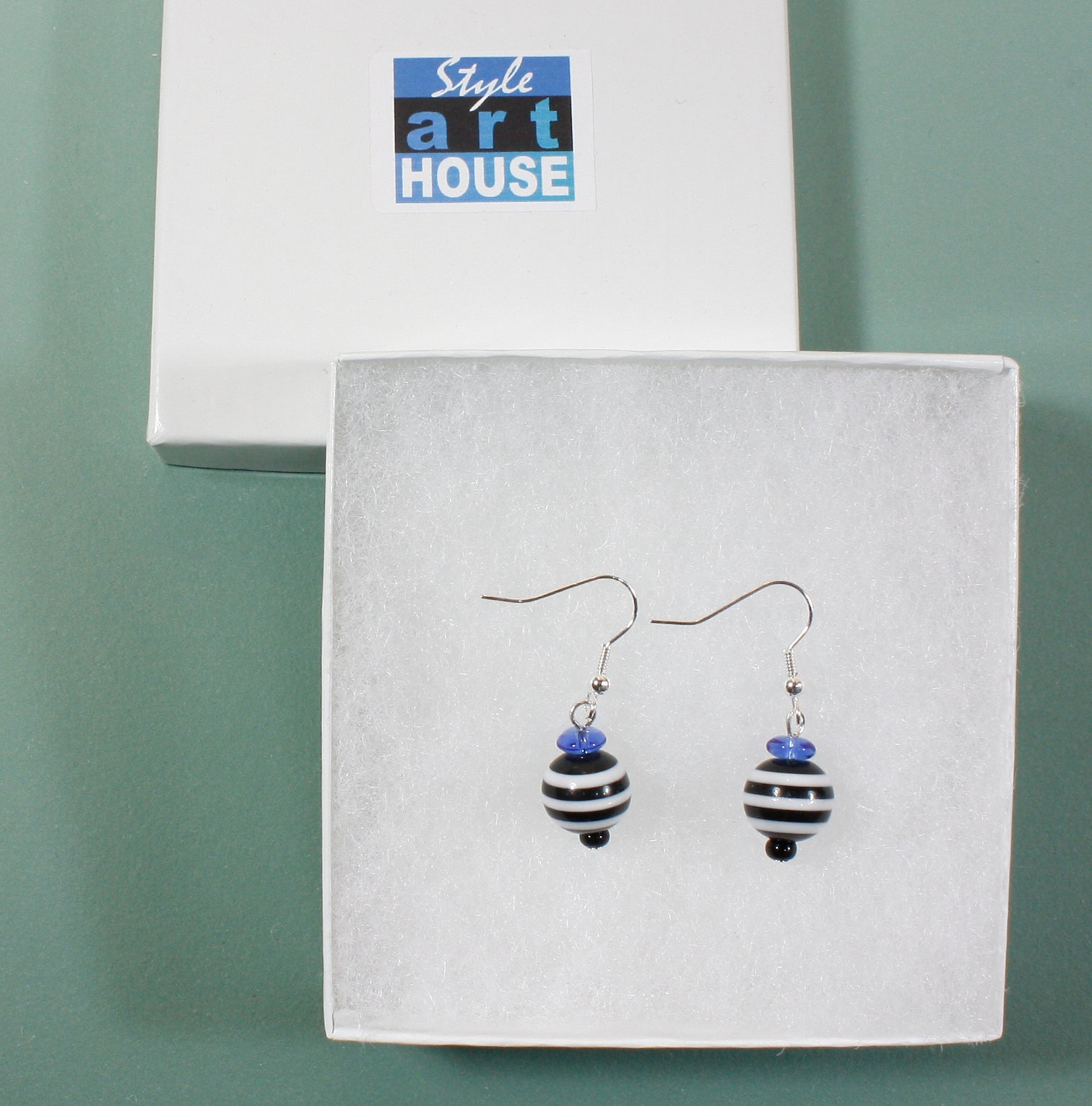 """French Sailor"", Striped Funky Bead Earrings with Blue Accent, 1.5 Inches"