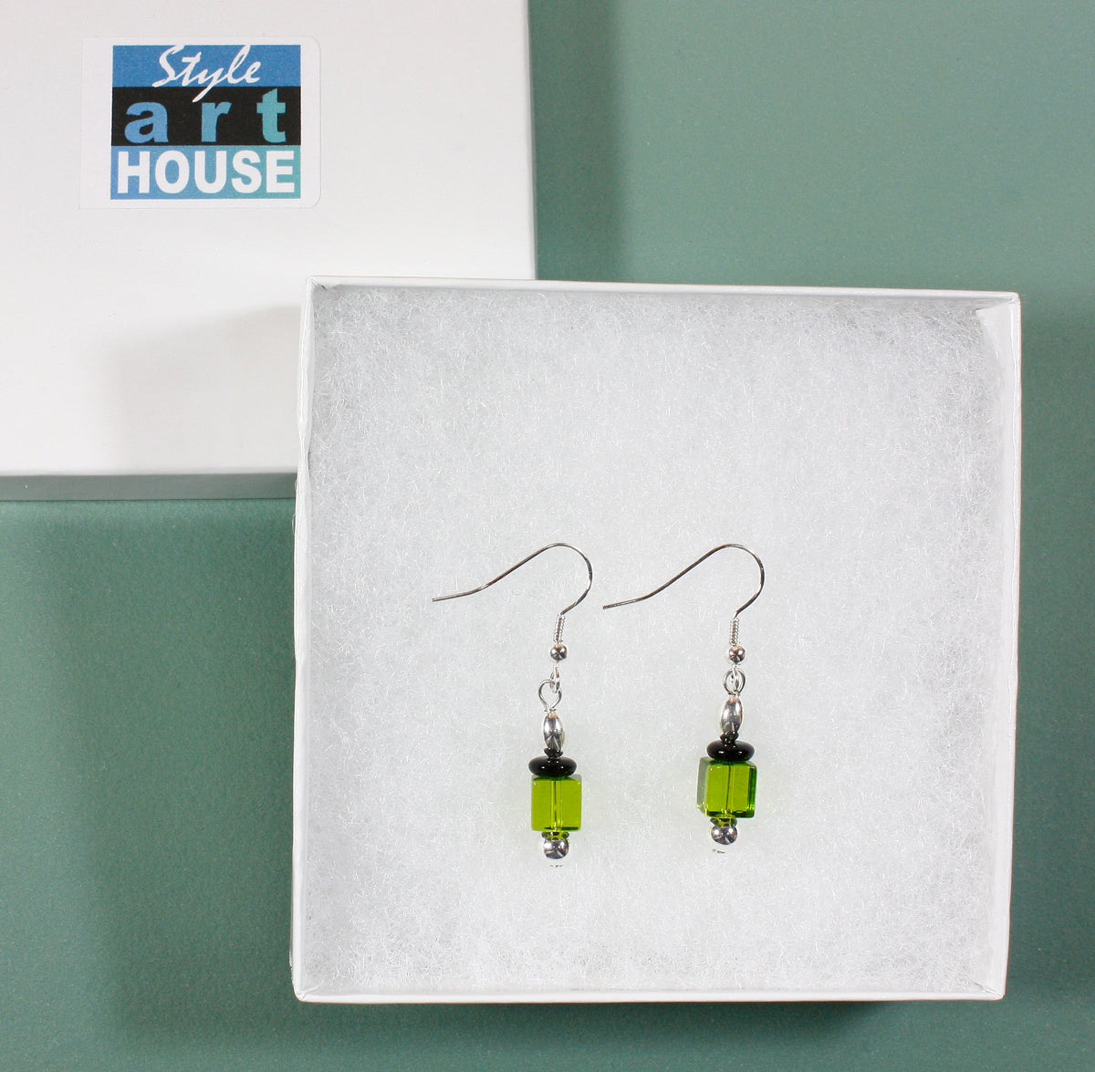 """Gin and Tonic on the Rocks"" Green Glass Earrings, 1.5 Inches"