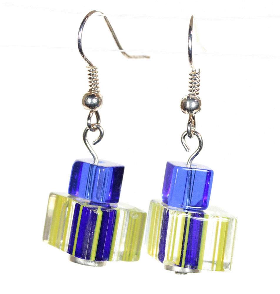 "Blue and Yellow Caneglass Earrings ""Glassy Classy"" Style-ARThouse"