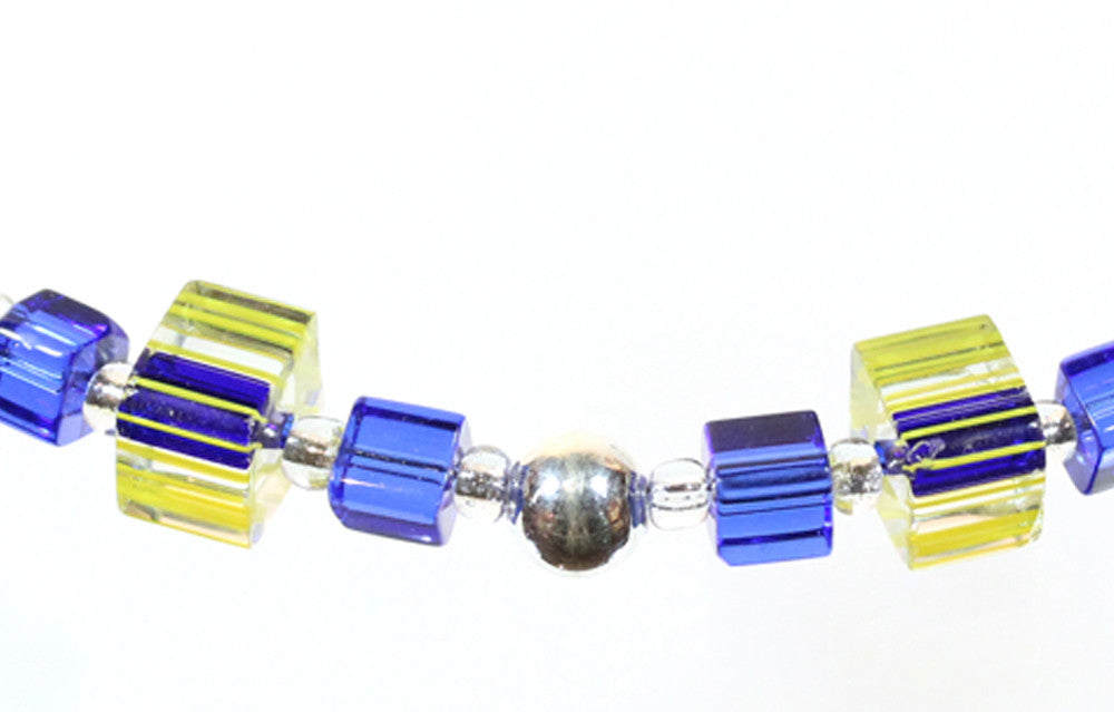 "Blue and Yellow Caneglass Bracelet ""Glassy Classy"" Style-ARThouse"