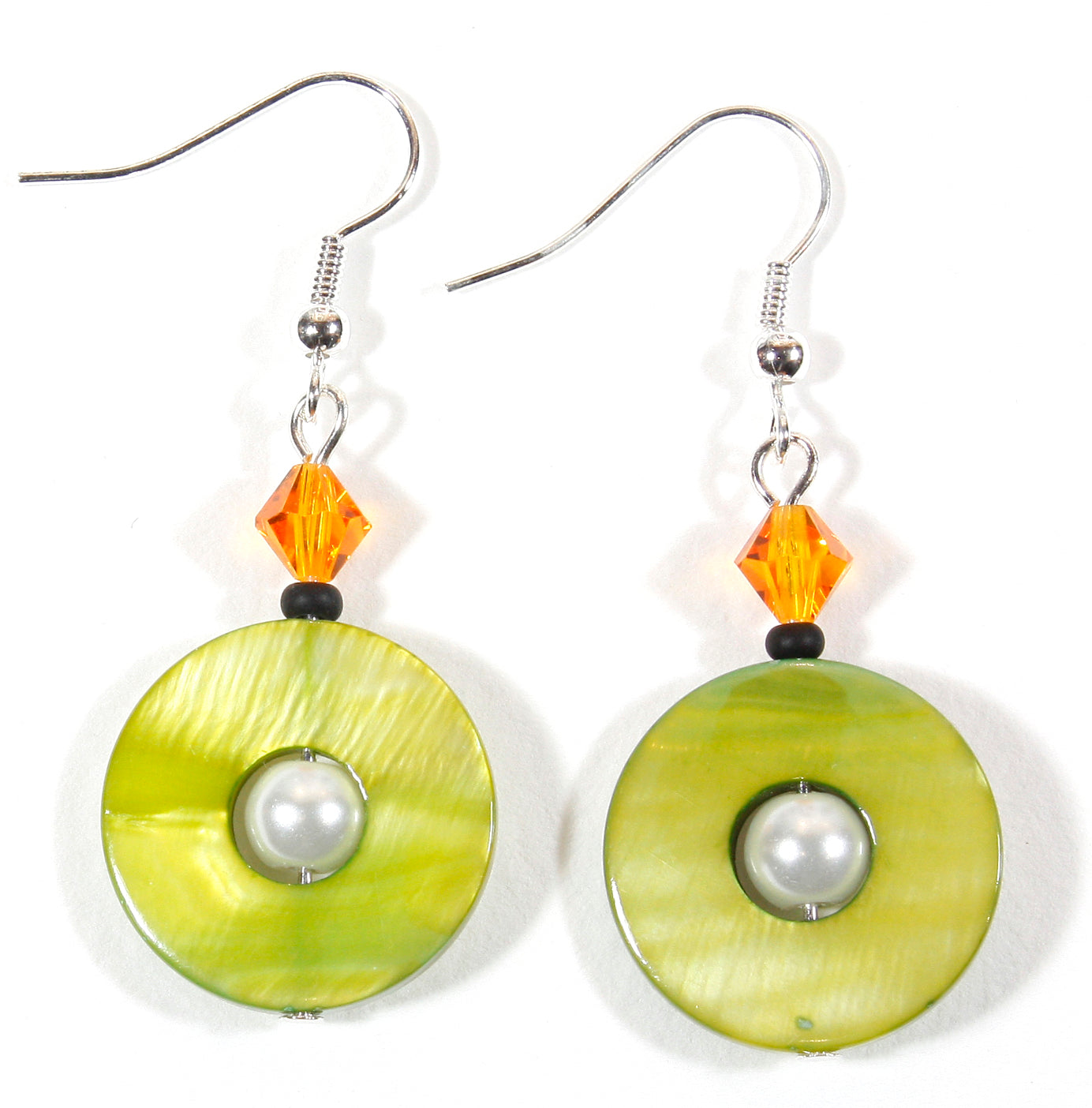 Green Planet Earrings with Orange Crystals, Mother-of-Pearl, 2.0 Inches