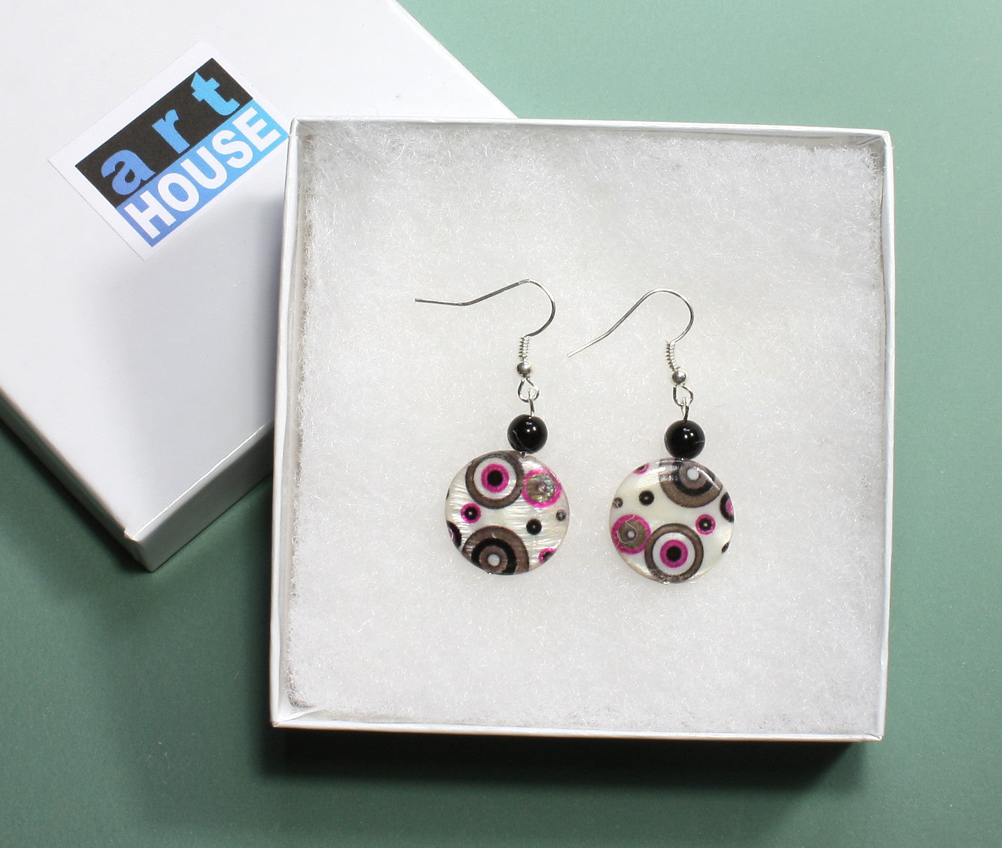 "Pink and Gray Polka Dot Earrings ""Happy Days"" Style-ARThouse"