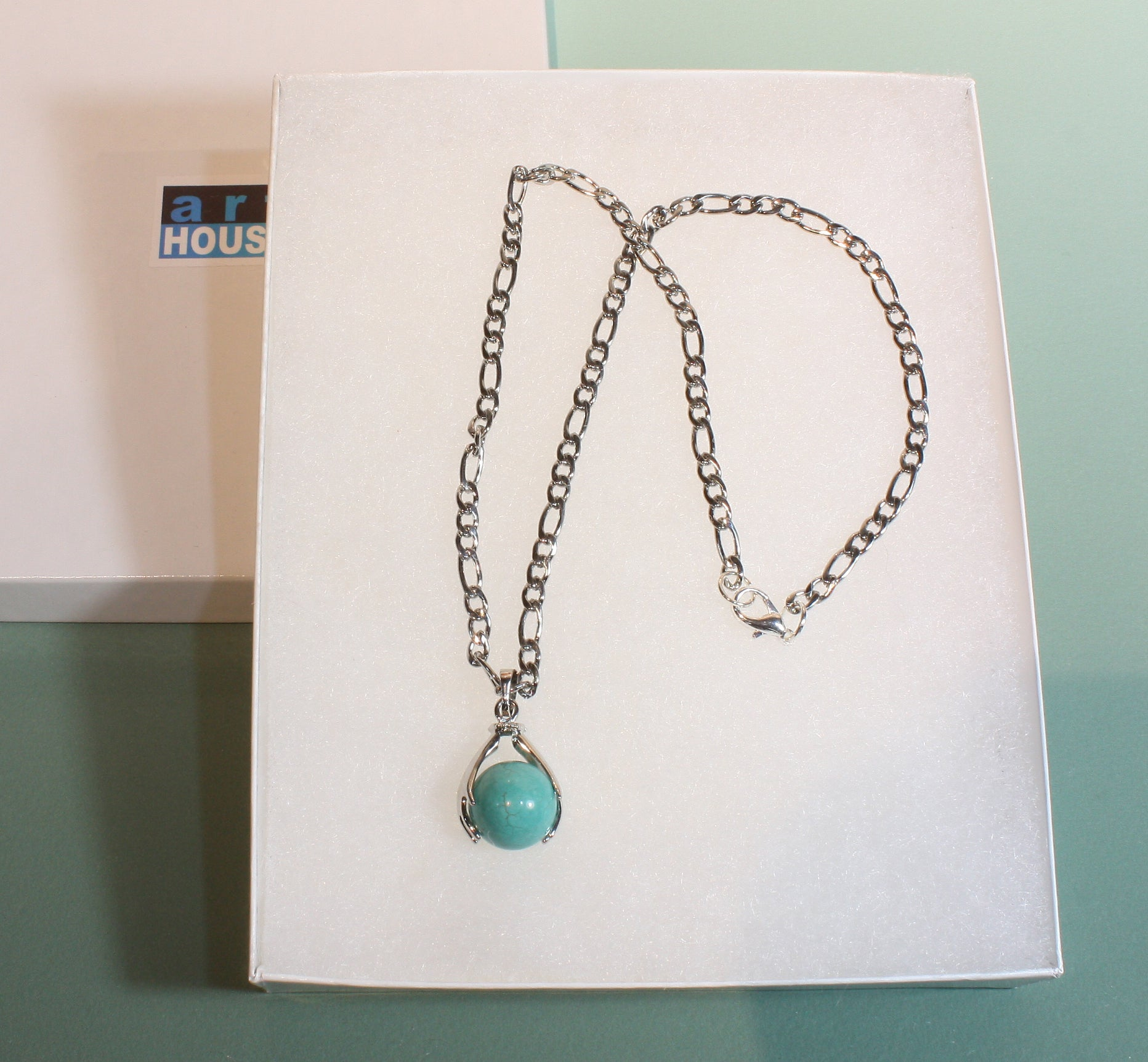 """Healing Hands"" Natural Turquoise Globe Pendant on Stainless Steel Chain, 16 Inches"