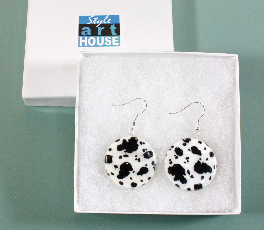 Holstein, Mother-of-Pearl Animal Print Earrings, 2.0 Inches