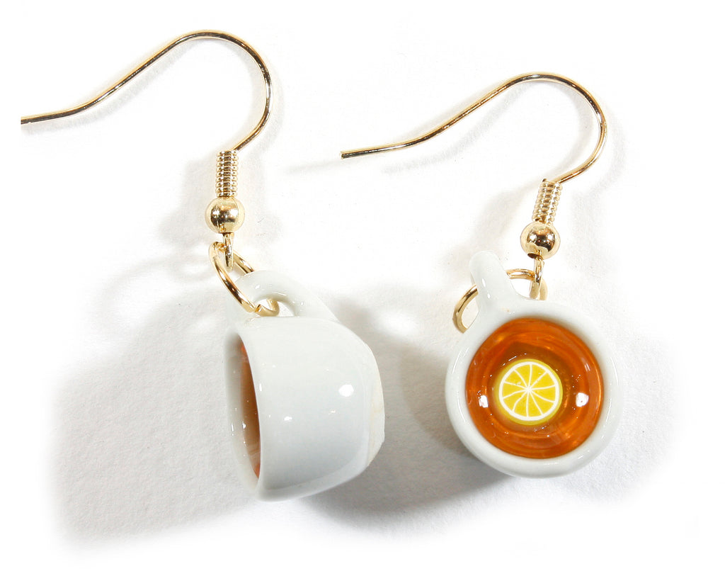 """Hot Tea with Lemon, Please!"" White Porcelain Tea Cup Earrings"