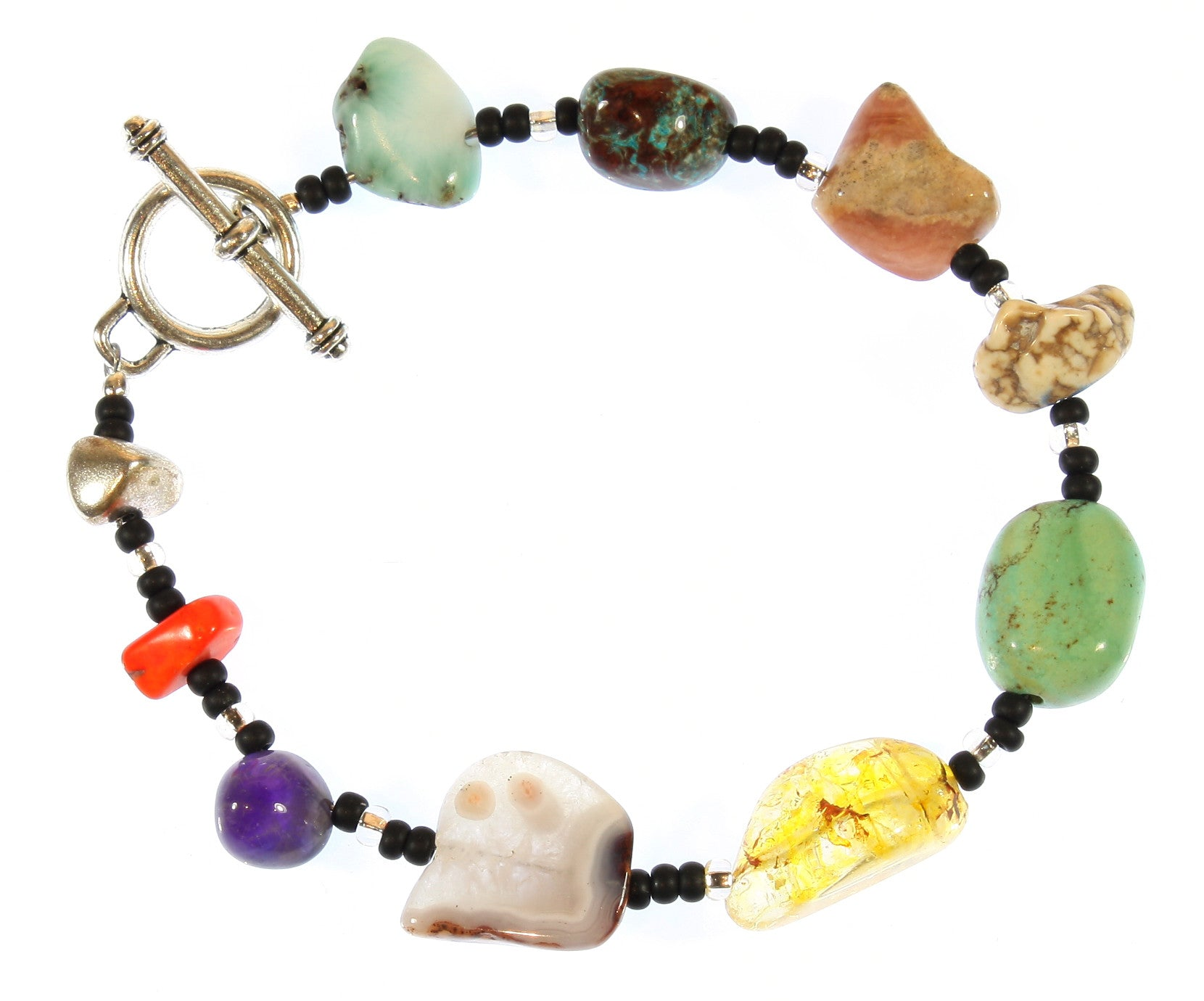 """Hurtling Through Space"" a Bracelet of the Asteroid Belt, Natural Mineral Nuggets, 7.5 Inches"