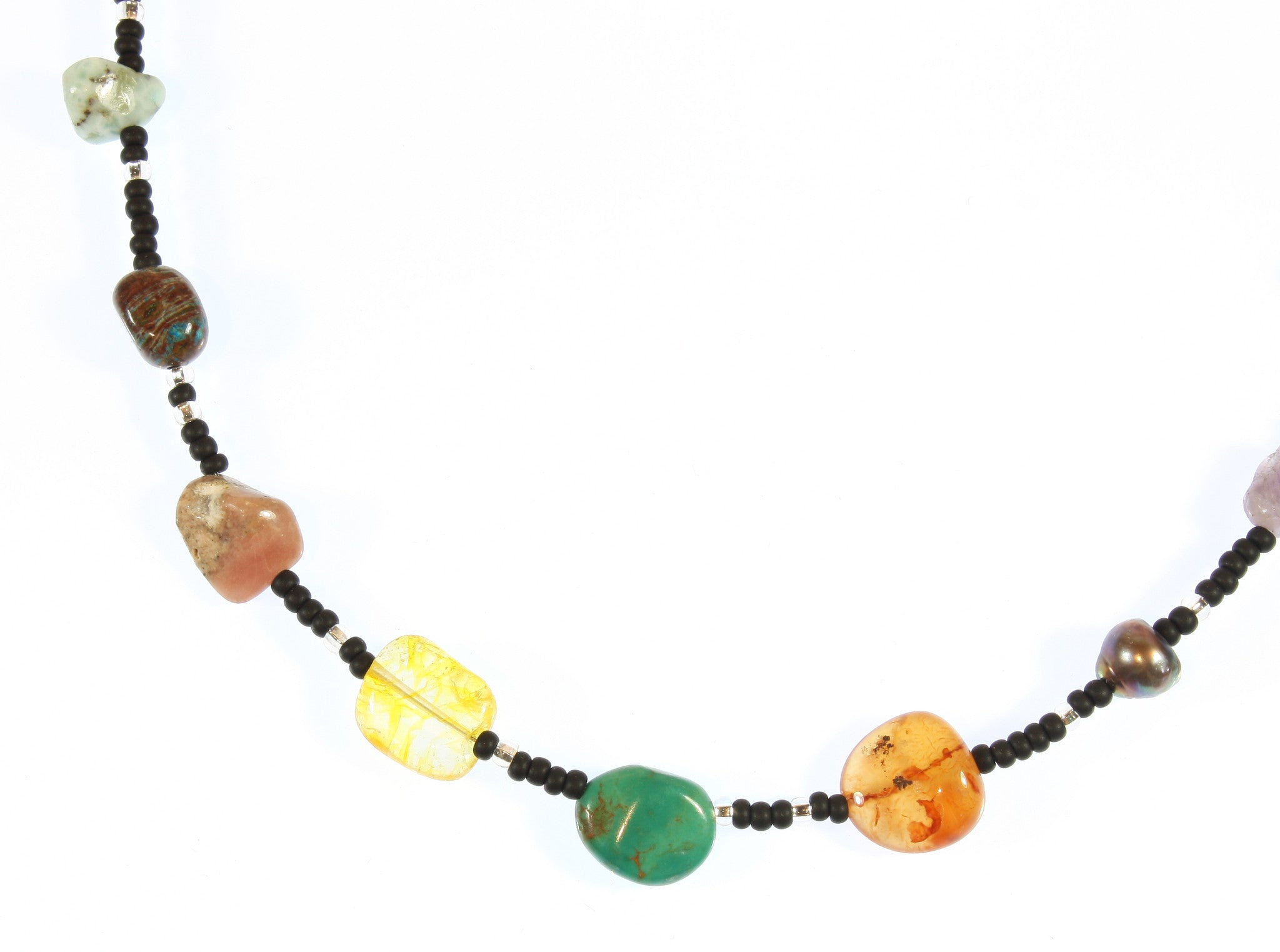 """Hurtling Through Space"" a Choker of the Asteroid Belt, Natural Mineral Nuggets, 16 Inches"