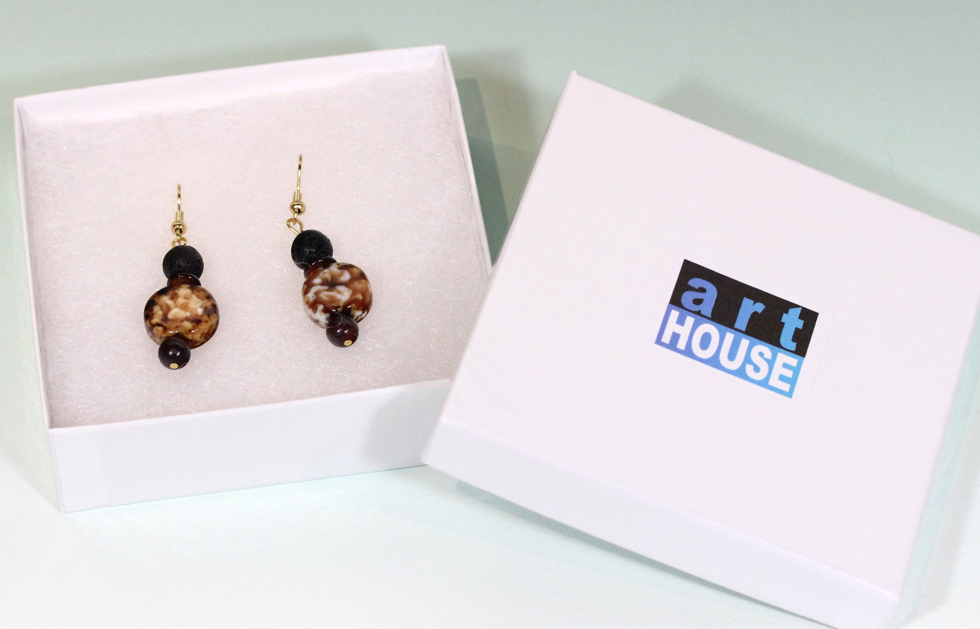 "Coffee Agate Earrings ""I Need My Coffee"" Style-ARThouse"