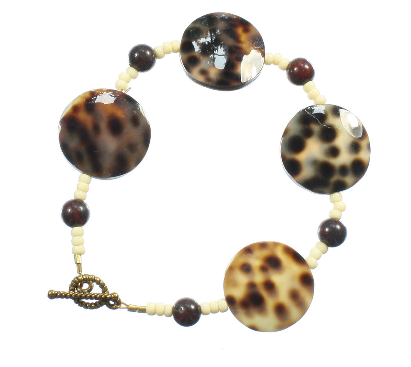 "Spotted Tiger Cowrie Shell Bracelet ""So Sleek"" Style-ARThouse"