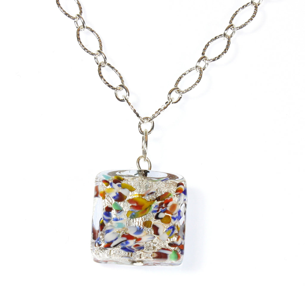 Klimt Collection No. 3, Murano Glass Necklace on Silvertone Chain, 20 Inches Adjustable