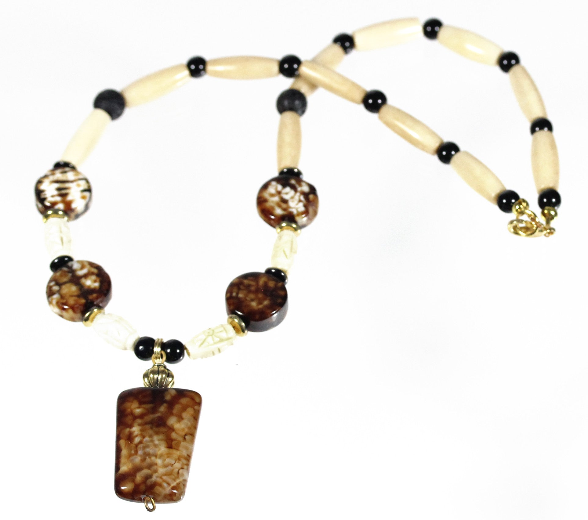 "Coffee Agate Necklace ""Latte Grande"" Style-ARThouse"