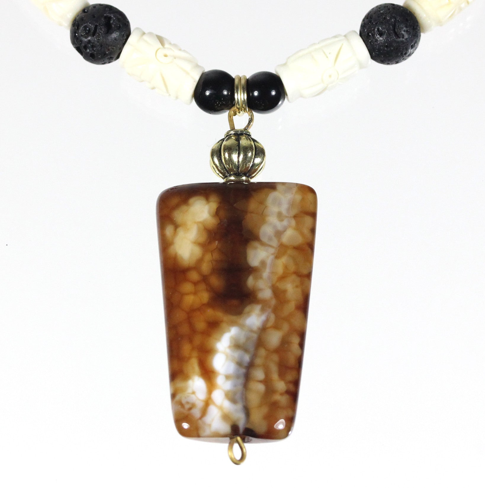"Coffee Agate Necklace ""Latte Venti"" Style-ARThouse"