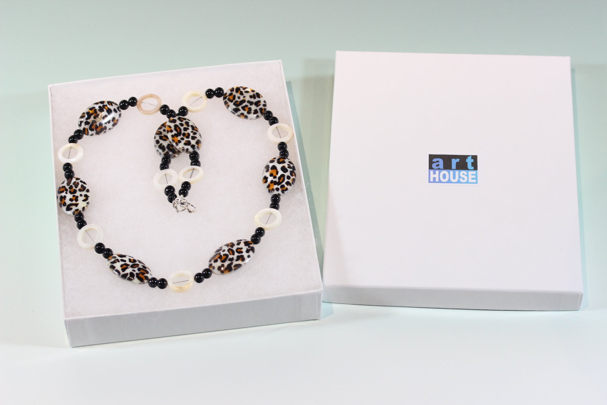 """Leopard Babe"" Mother-of-Pearl and Onyx Necklace, 24 Inches"