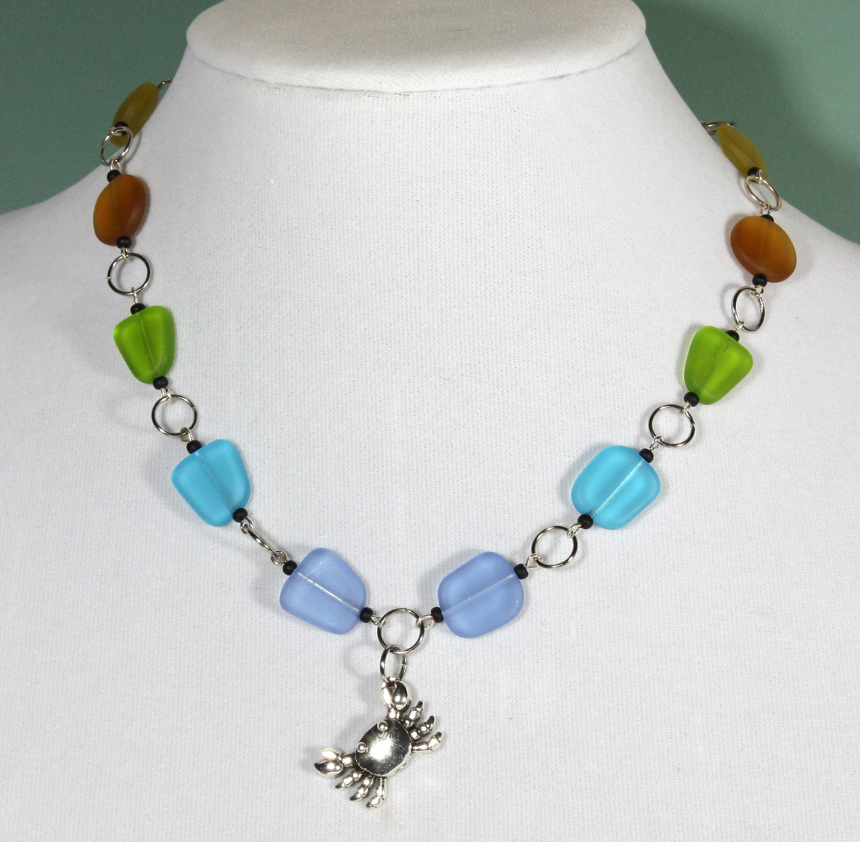 """Little Crab"" 18 Inch Sea Glass Necklace"