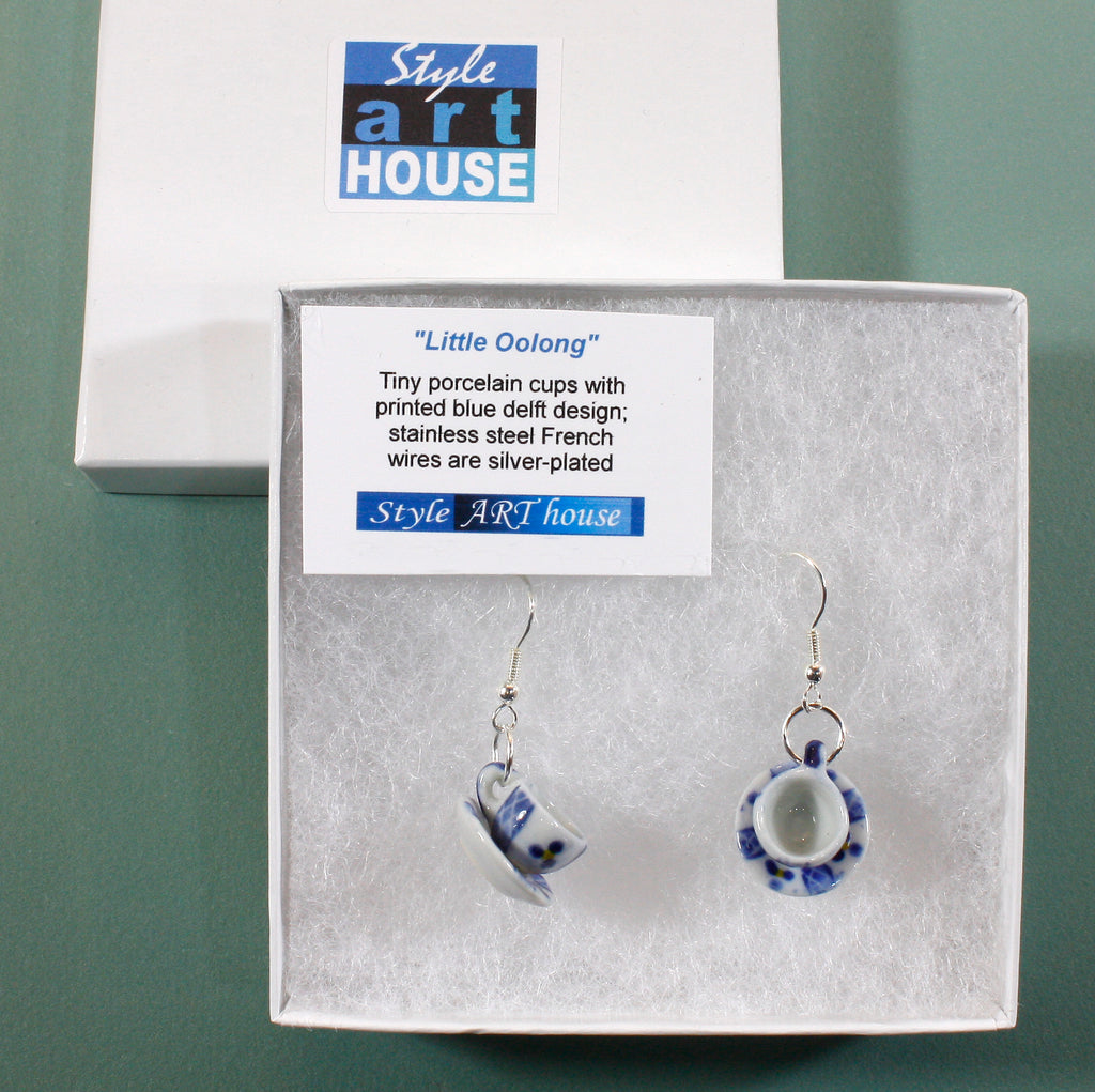 """Little Oolong"" Blue Delft Chinese Porcelain Tea Cup Earrings"