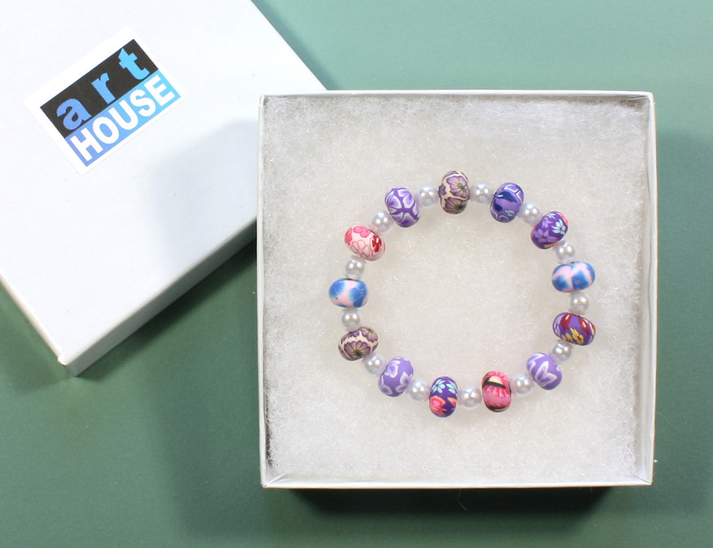 "Lavender Stretch Bracelet ""Little Periwinkle"" Style-ARThouse"