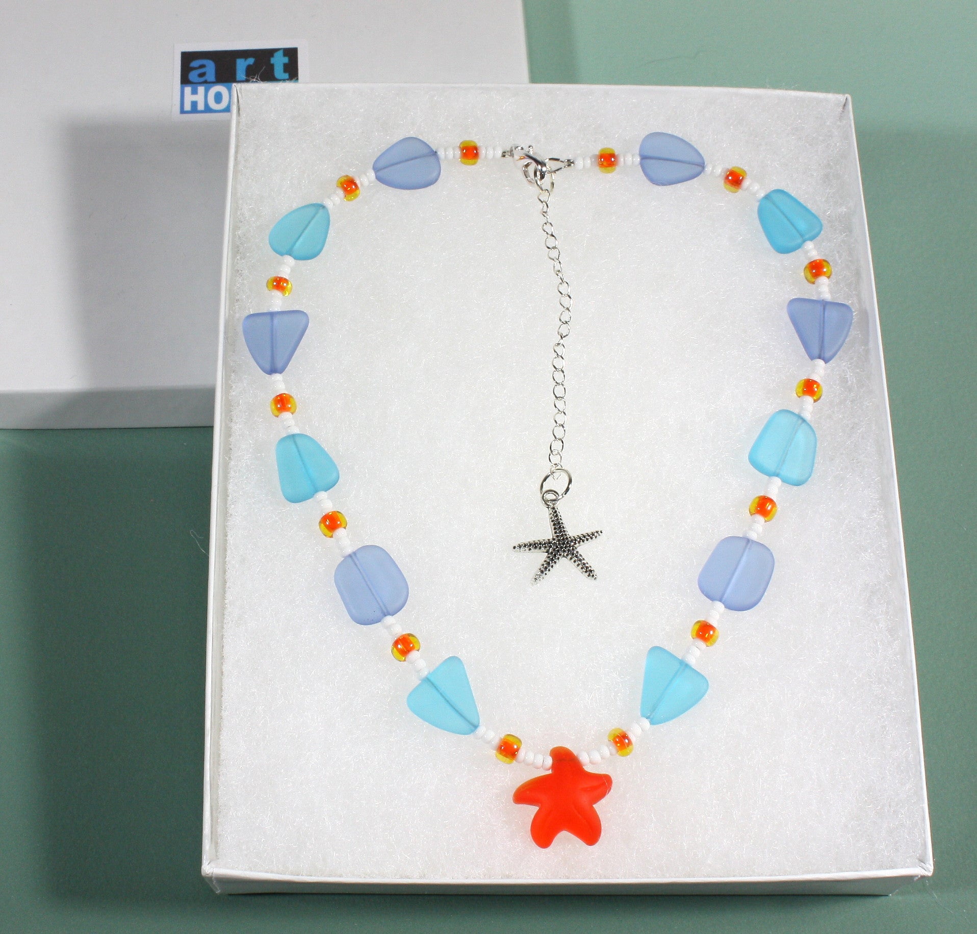 """Little Starfish"" Faux Sea Glass Necklace with Starfish Charm, 18 Inches"