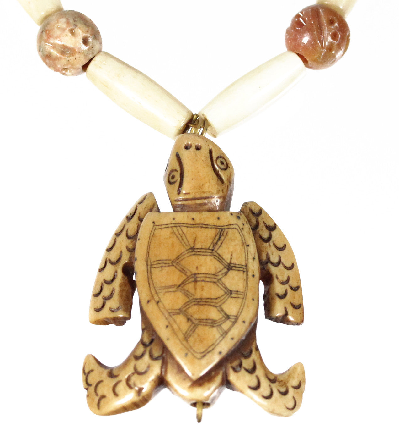 "Carved Sea Turtle Necklace ""Little Wanderer"" Style-ARThouse"