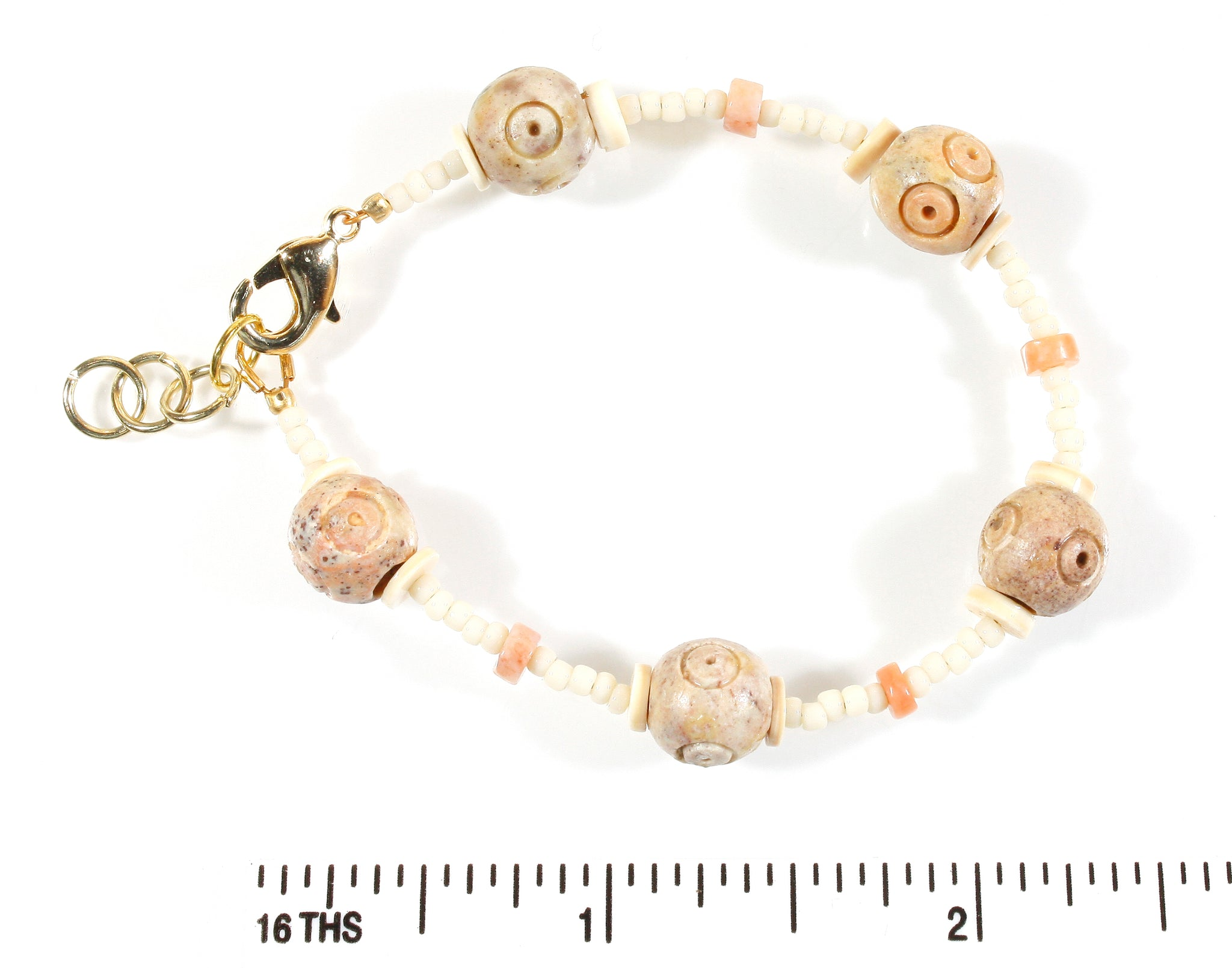 """Archaeological"" Carved Soapstone and Heishi Bead Bracelet, 6.0 Inches"