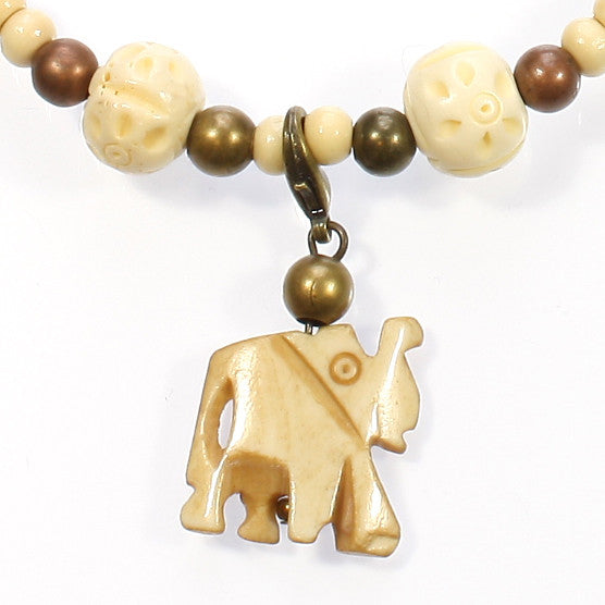 My Little Elephant Carved Natural Horn And Bone Necklace 18 Inches Style Arthouse