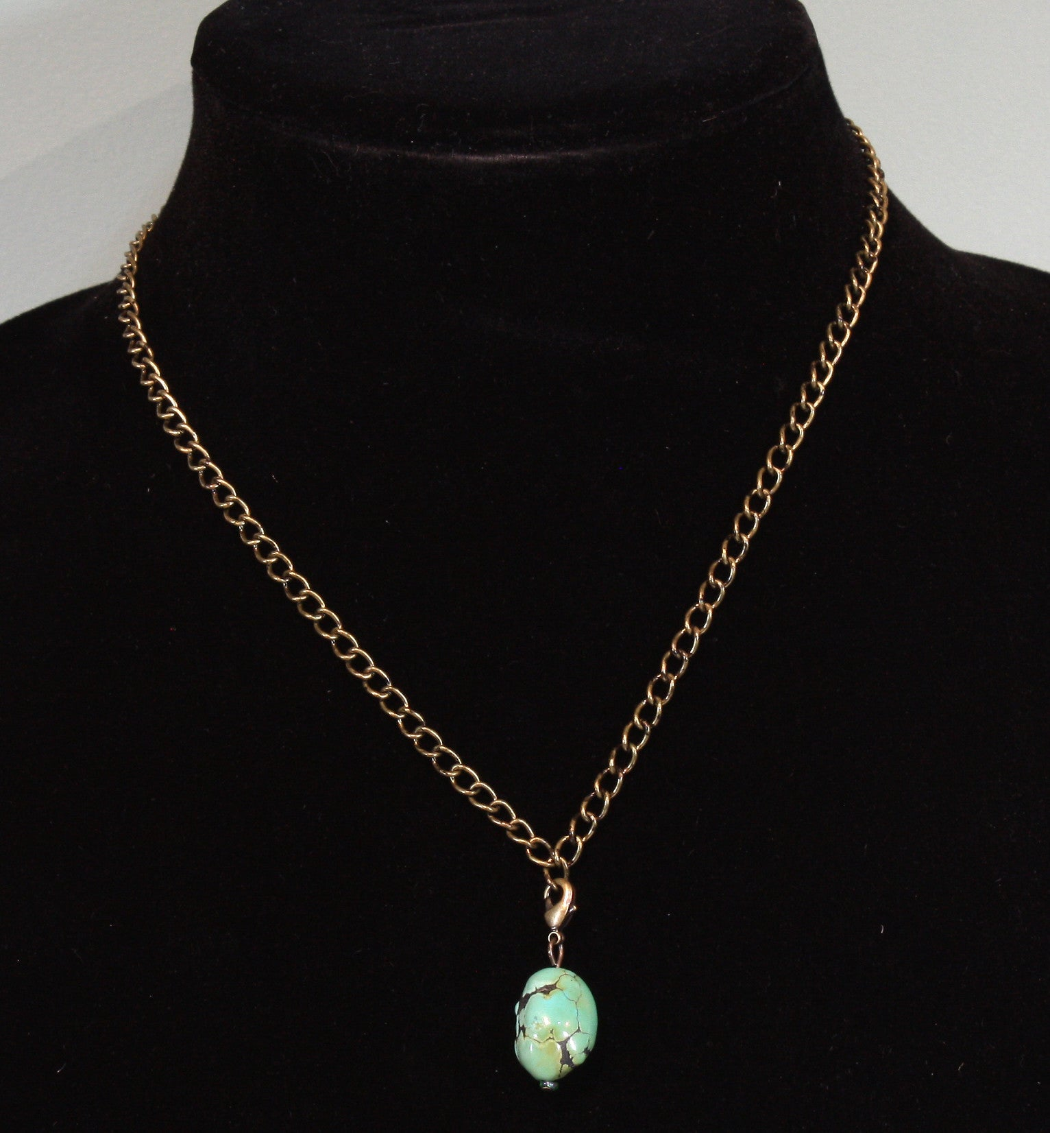 """Nice Nugget"" Natural Genuine Turquoise Nugget Necklace; 18 inch brass chain"