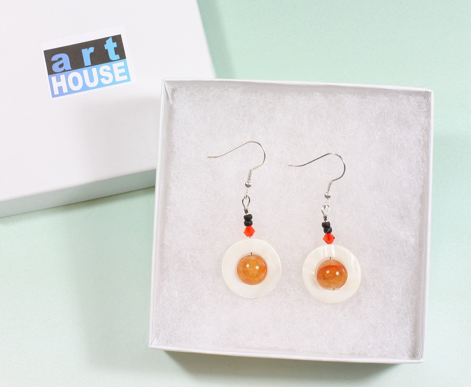 "Orange Crackle Agate Earrings ""Orange Planet"" Style-ARThouse"