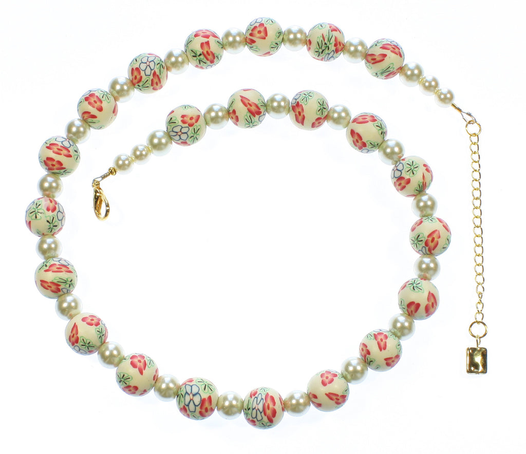 "Millefiori Necklace ""Petals and Pearls"" Style-ARThouse"