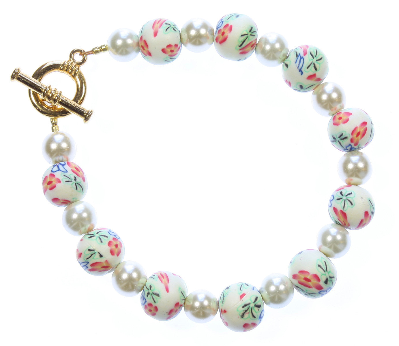 "Millefiori Bracelet ""Petals and Pearls"" Style-ARThouse"