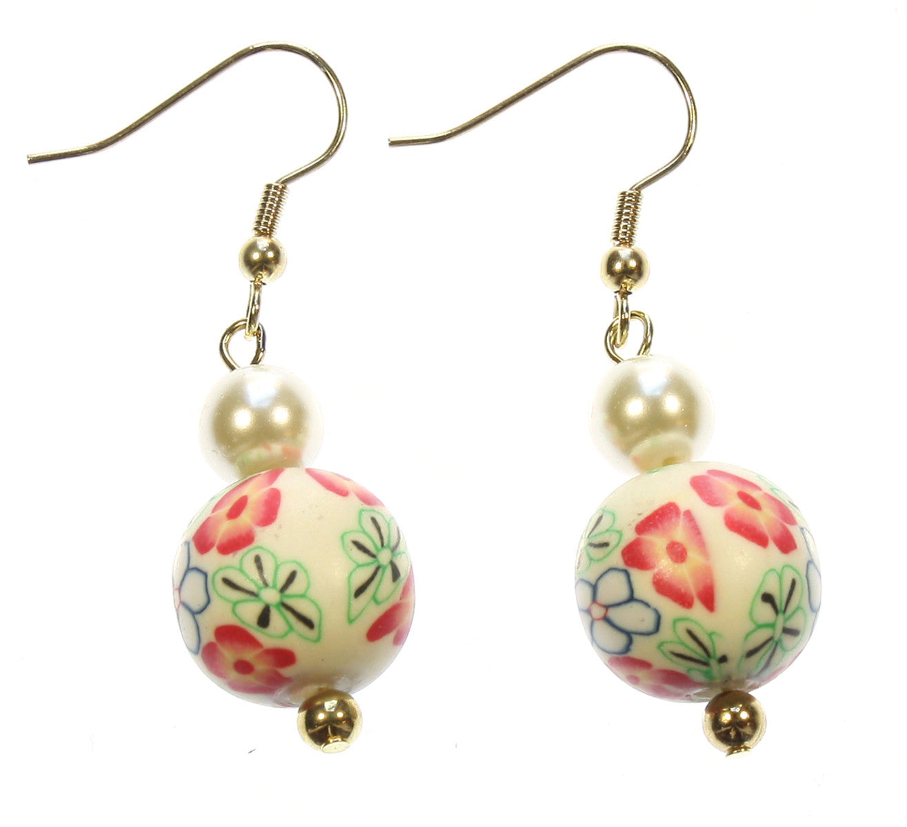 "Millefiori Earrings ""Petals and Pearls"" Style-ARThouse"
