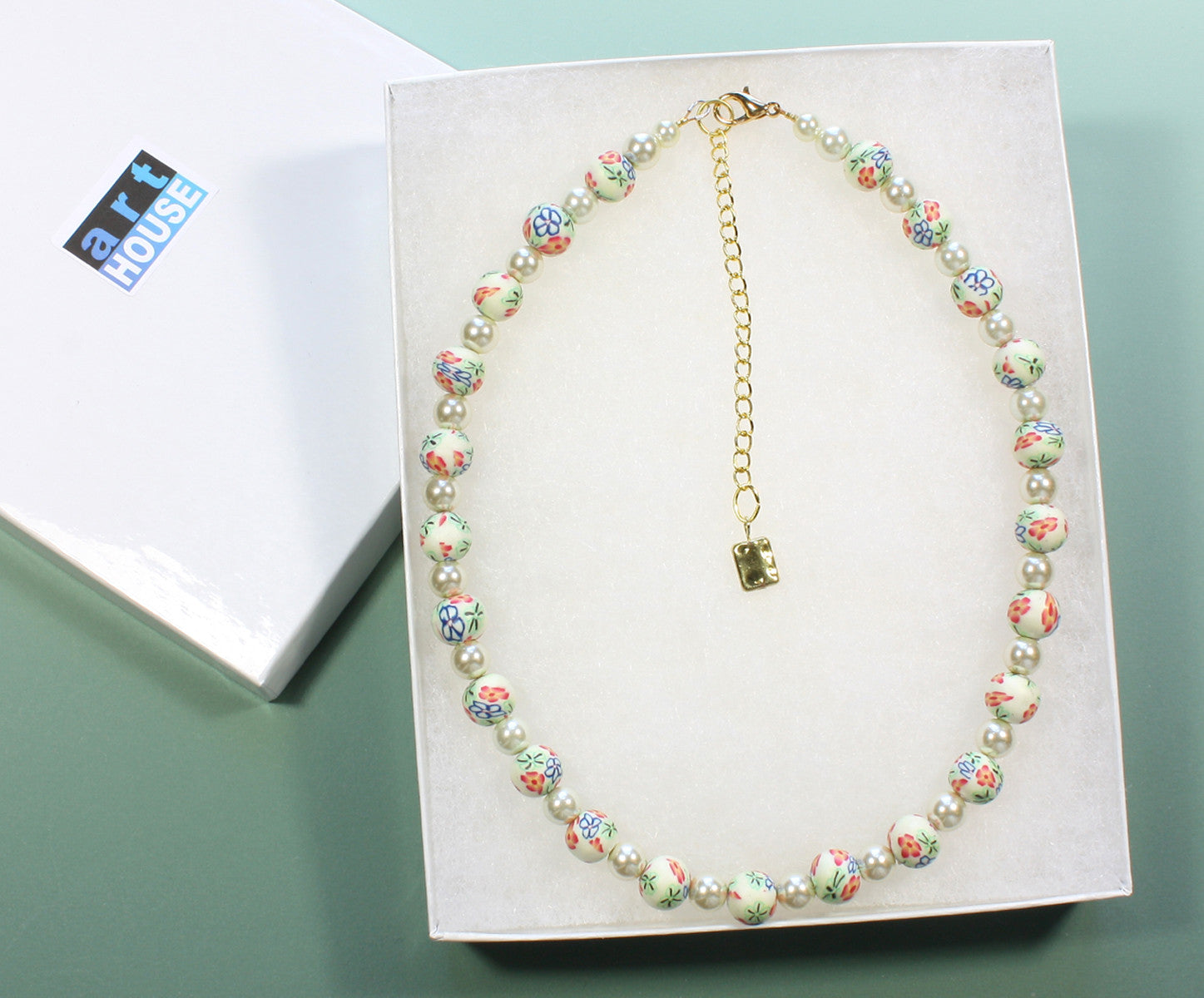 "Millefiori Choker Necklace ""Petals and Pearls"" Style-ARThouse"