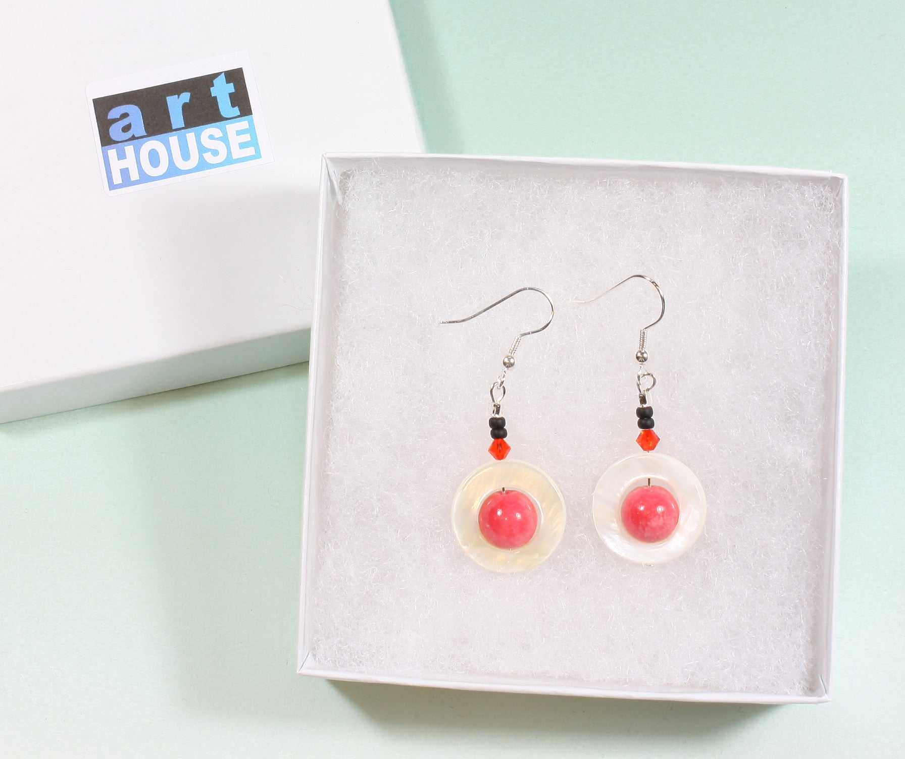 "Pink Mother of Pearl Earrings ""Pink Planet"" Style-ARThouse"
