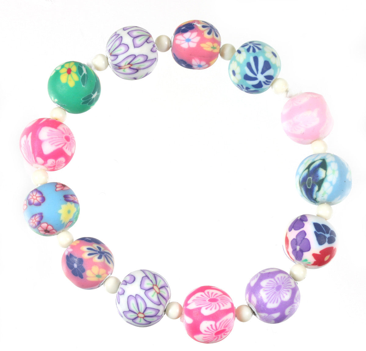 Pretty in Summer, Millefiore Stretch Bracelet in Polymer Clay, 7.5 Inches