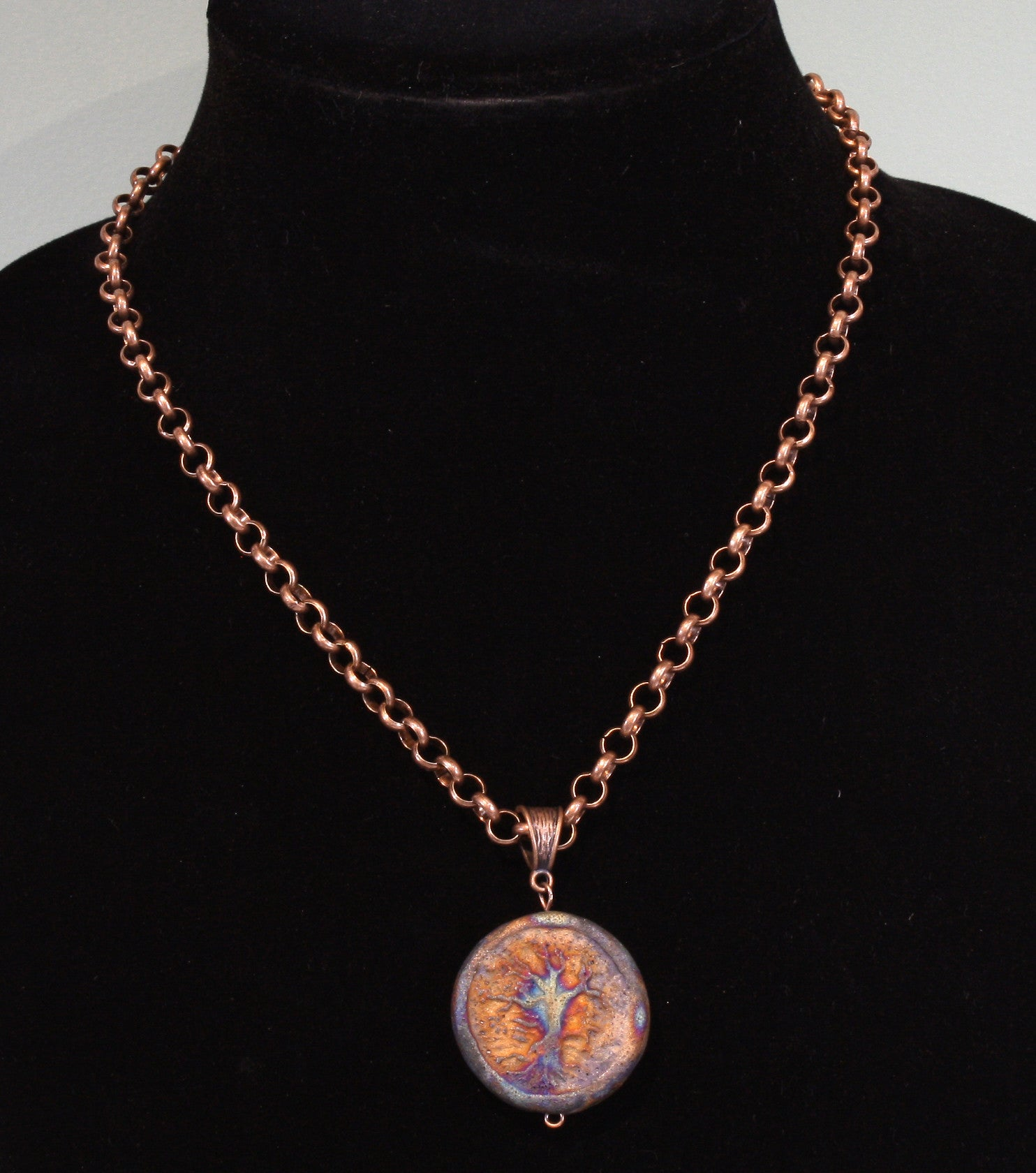 """Raku Tree of Life"" Raku-glazed Ceramic Pendant Necklace on 18 inch copper-tone rolo chain"