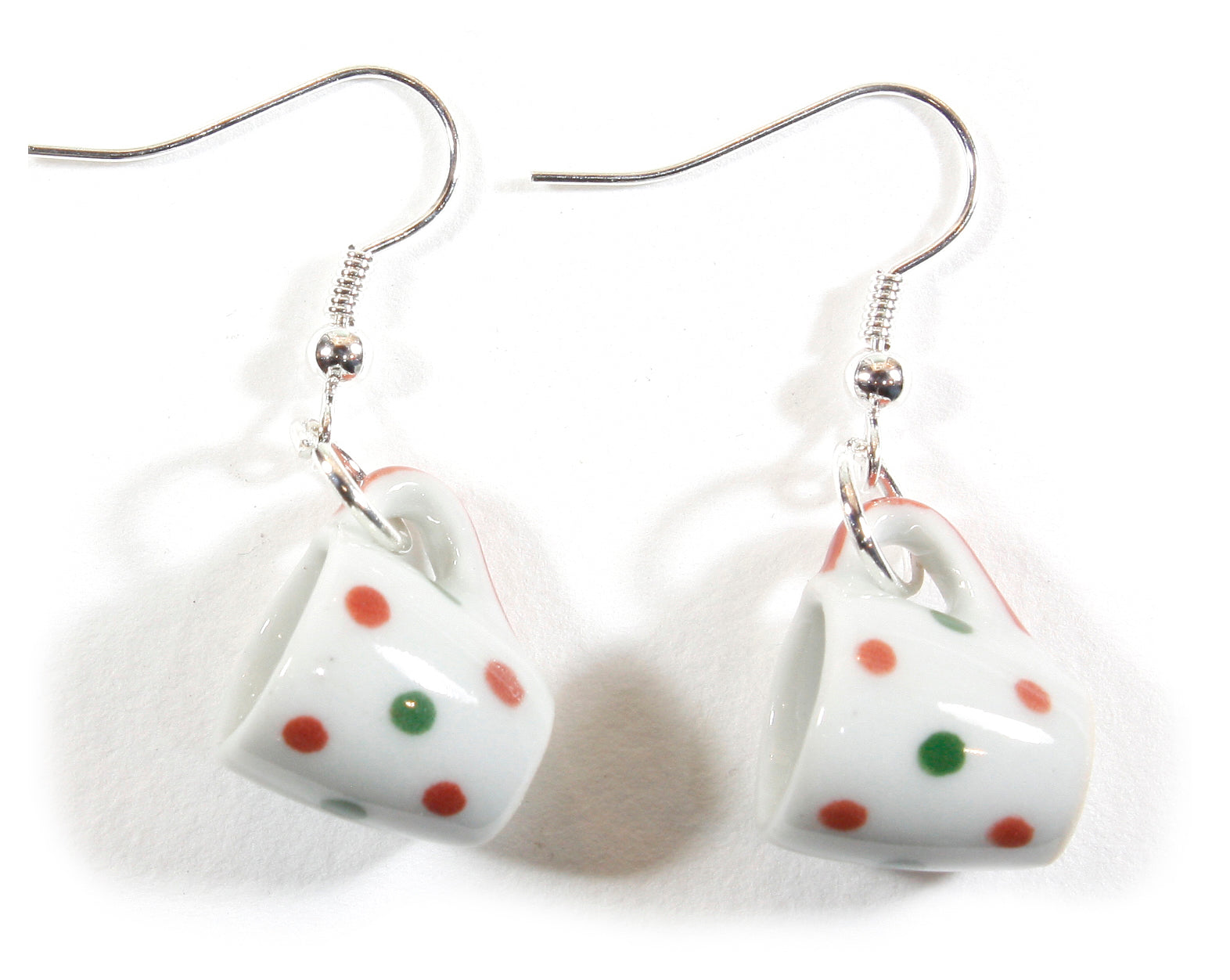 Ready for Coffee, Polka Dotted Miniature Ceramic Coffee Cup Earrings