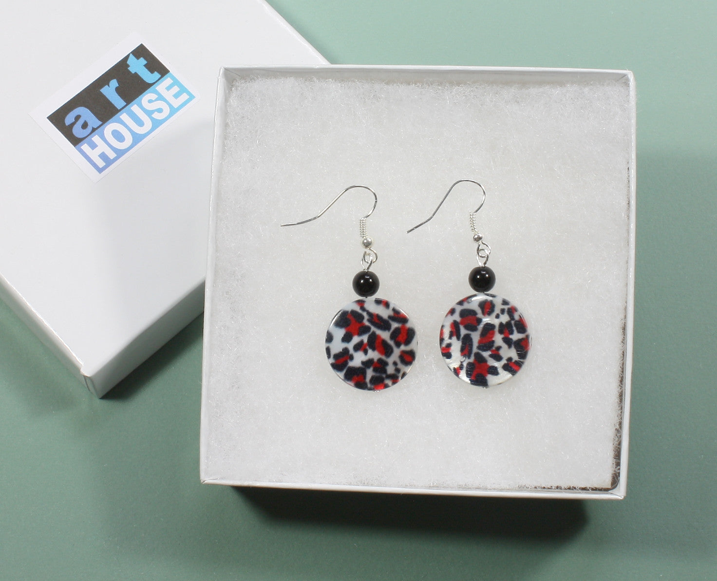 "Animal Print Earrings ""Red Leopard"" Style-ARThouse"