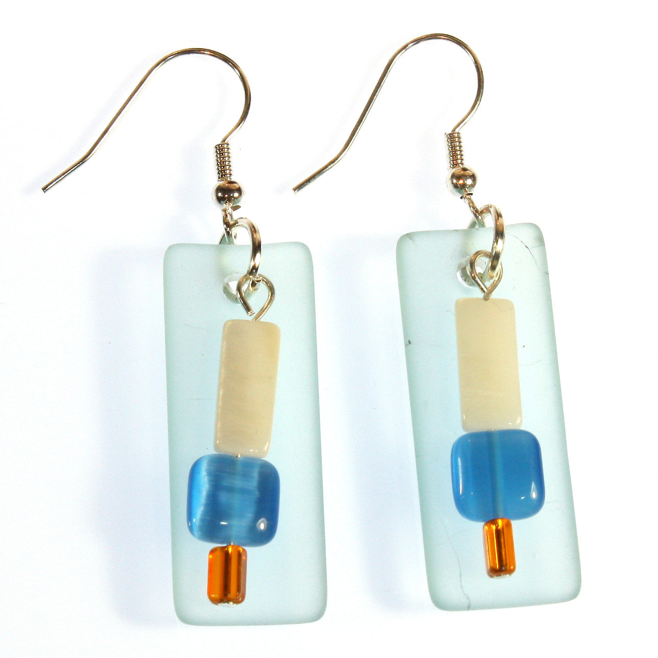 """Sea Glass Dangles"" Faux Sea Glass Earrings; Dangle 2.0 Inches"