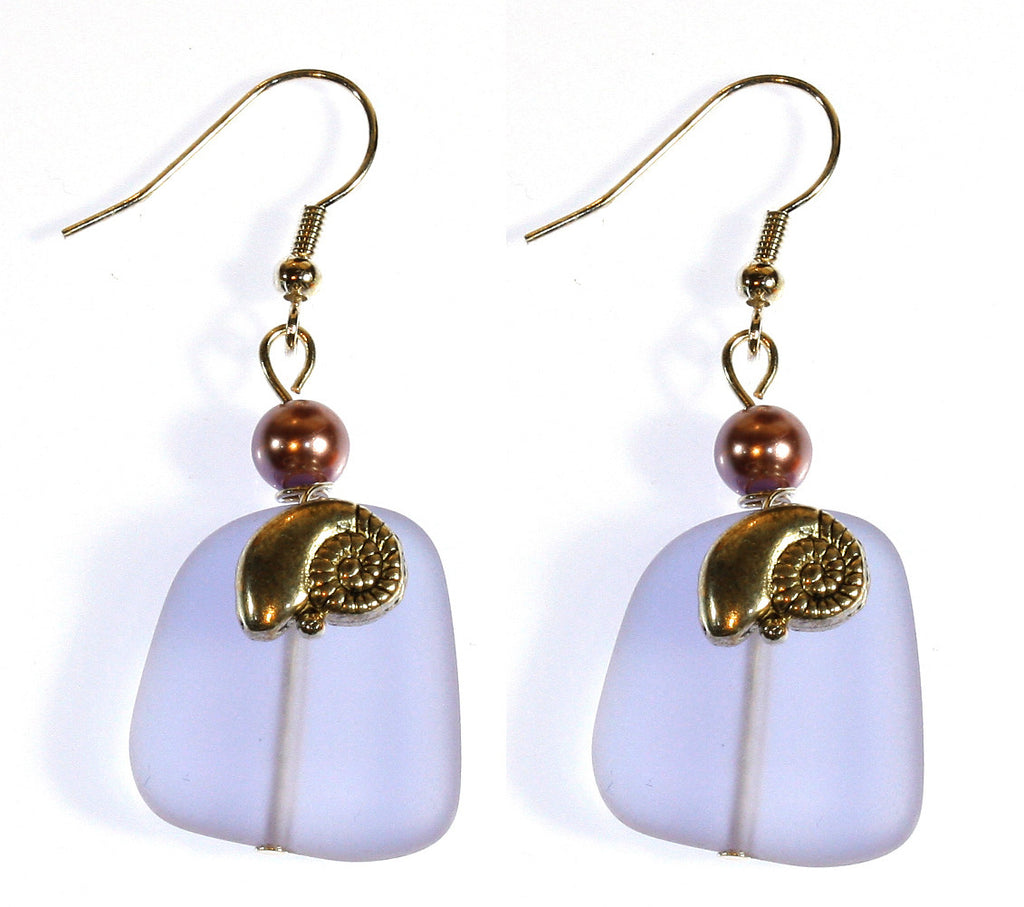 """Sea Glass and Nautilus"" Lavender Faux Sea Glass Earrings; Dangle 2.0 Inches"